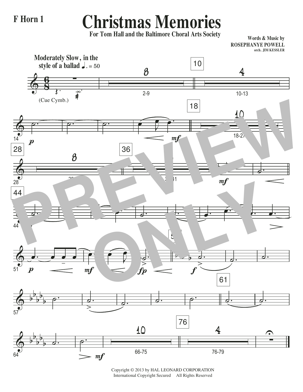 Christmas Memories - F Horn 1 Sheet Music