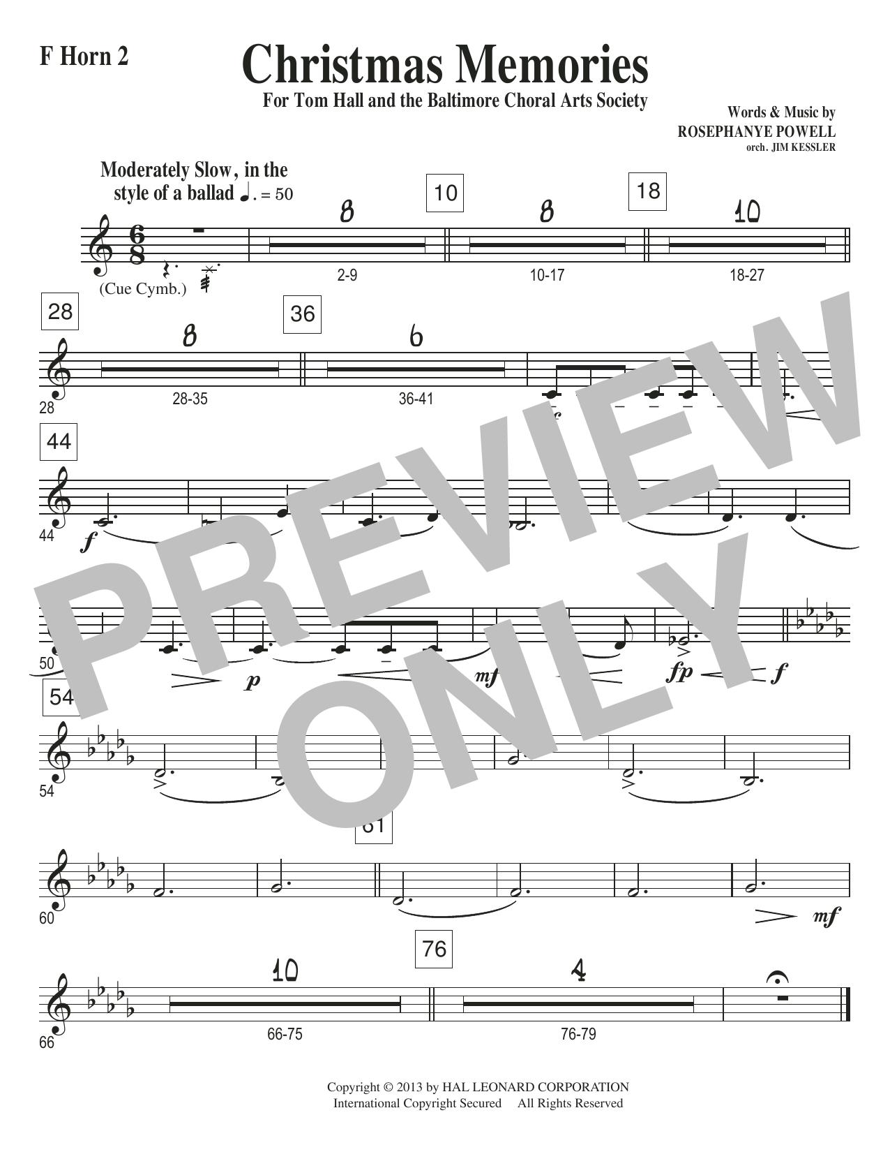 Christmas Memories - F Horn 2 Sheet Music