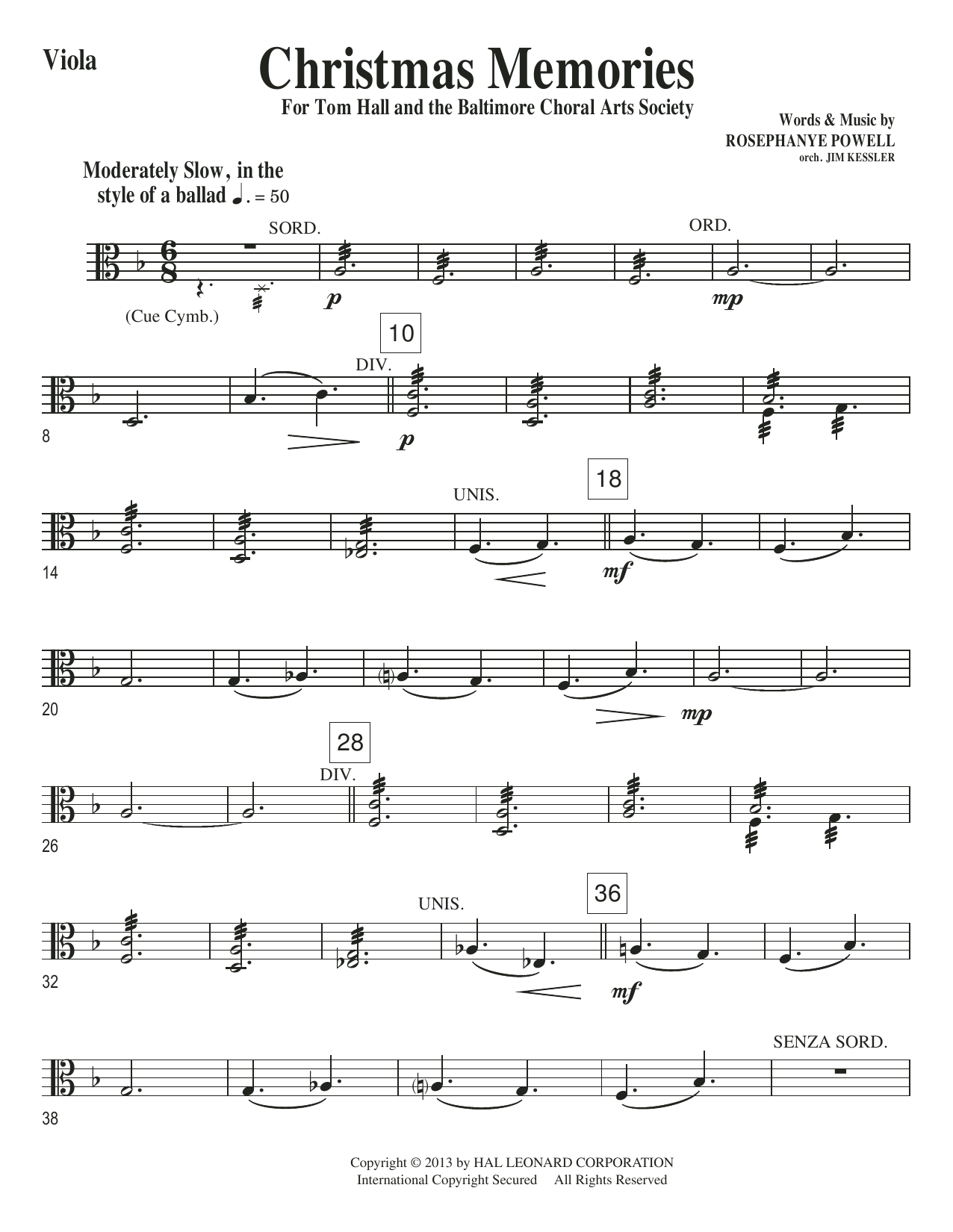 Christmas Memories - Viola Sheet Music