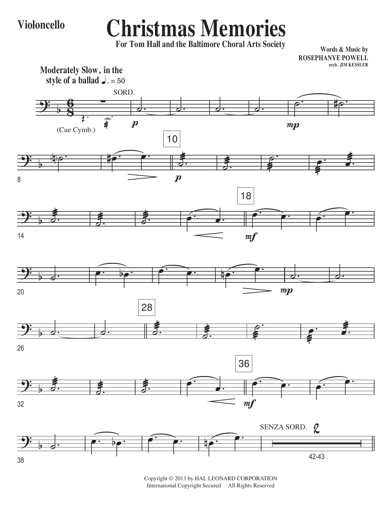 Christmas Memories - Cello Sheet Music