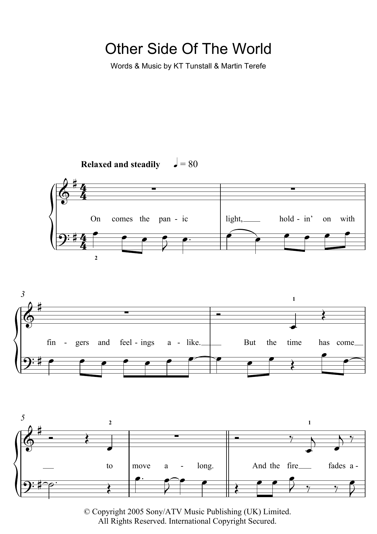 Other Side Of The World Sheet Music
