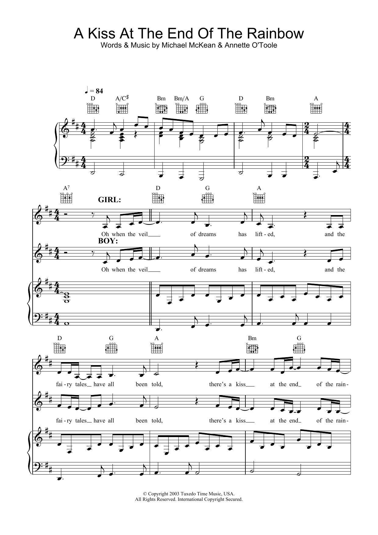 A Kiss At The End Of The Rainbow Sheet Music
