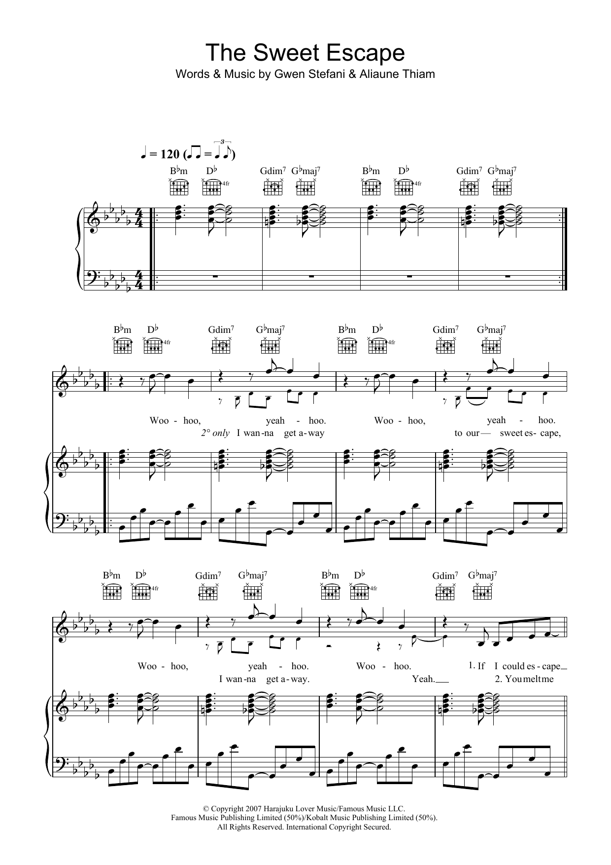 The Sweet Escape (featuring Akon) Sheet Music