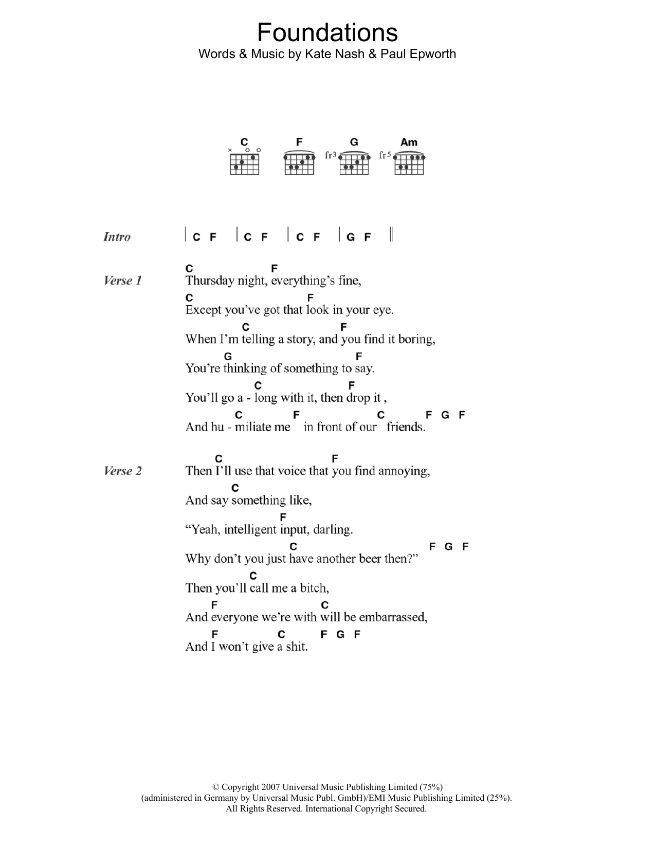 Foundations By Kate Nash Guitar Chordslyrics Guitar Instructor