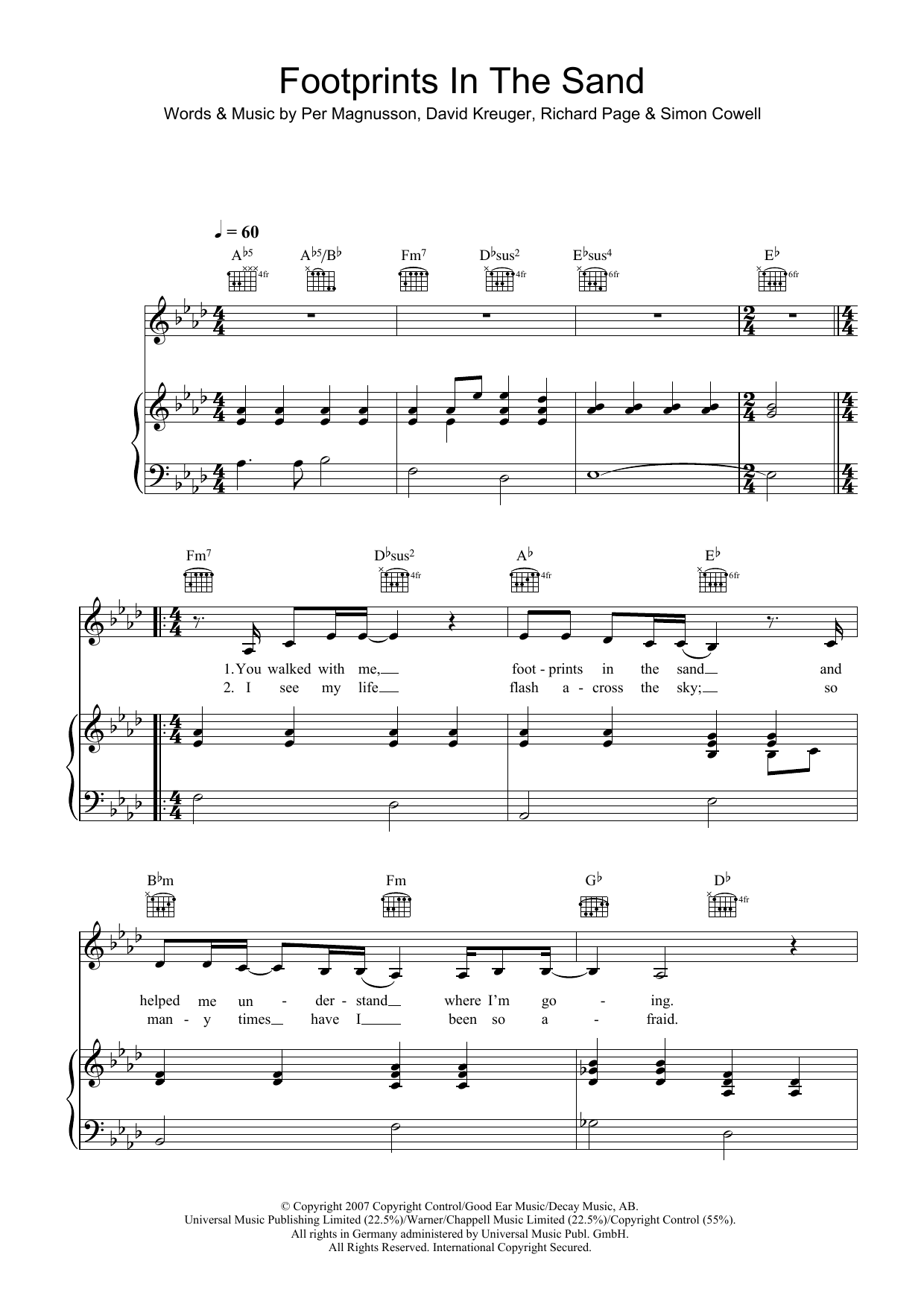 Footprints In The Sand (Piano, Vocal & Guitar)
