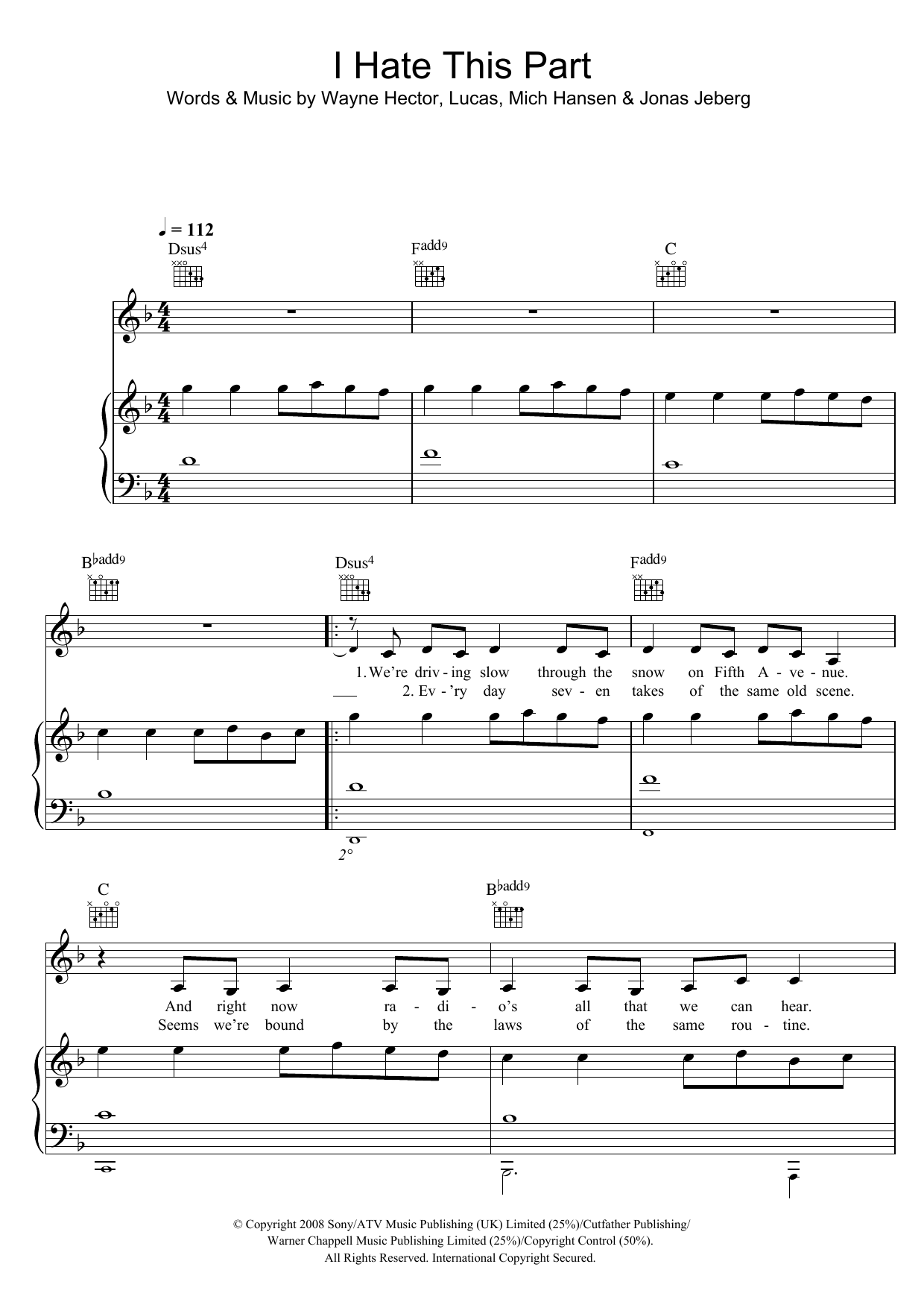 I Hate This Part Sheet Music