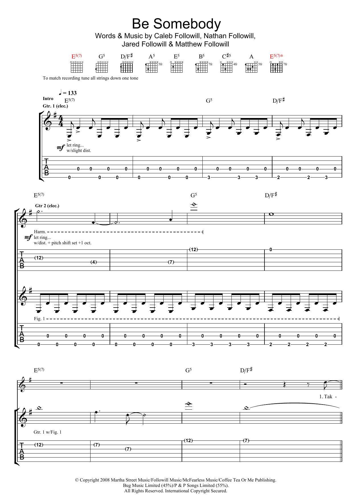 Be Somebody (Guitar Tab)