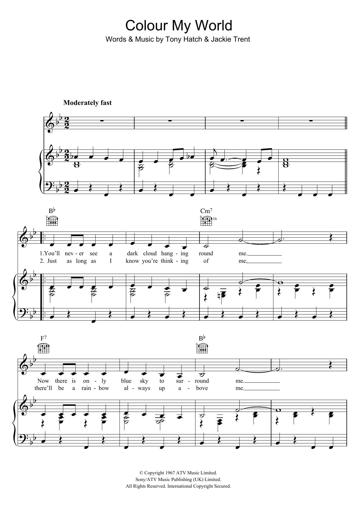 Colour My World (Piano, Vocal & Guitar)