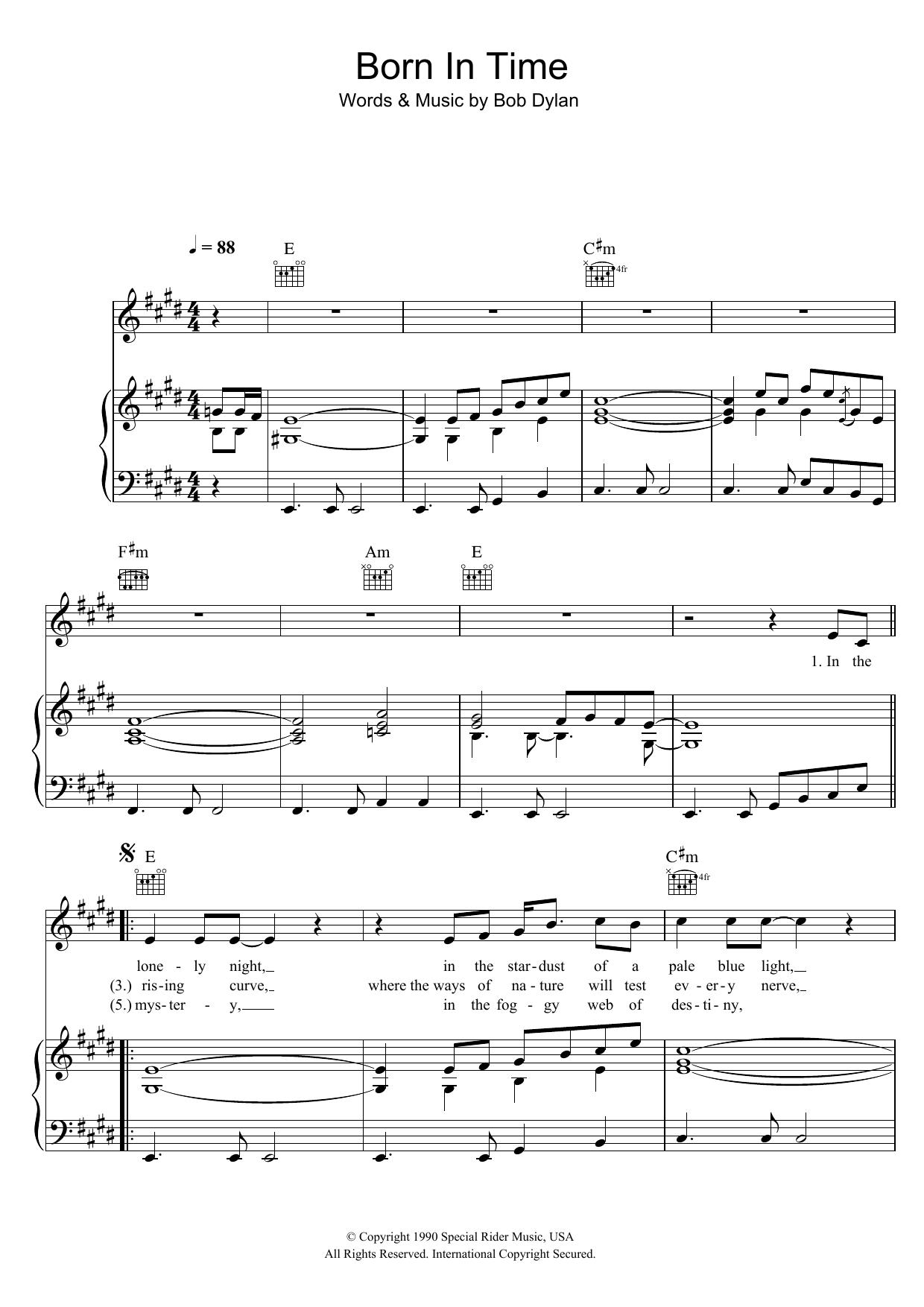 Born In Time (Piano, Vocal & Guitar)