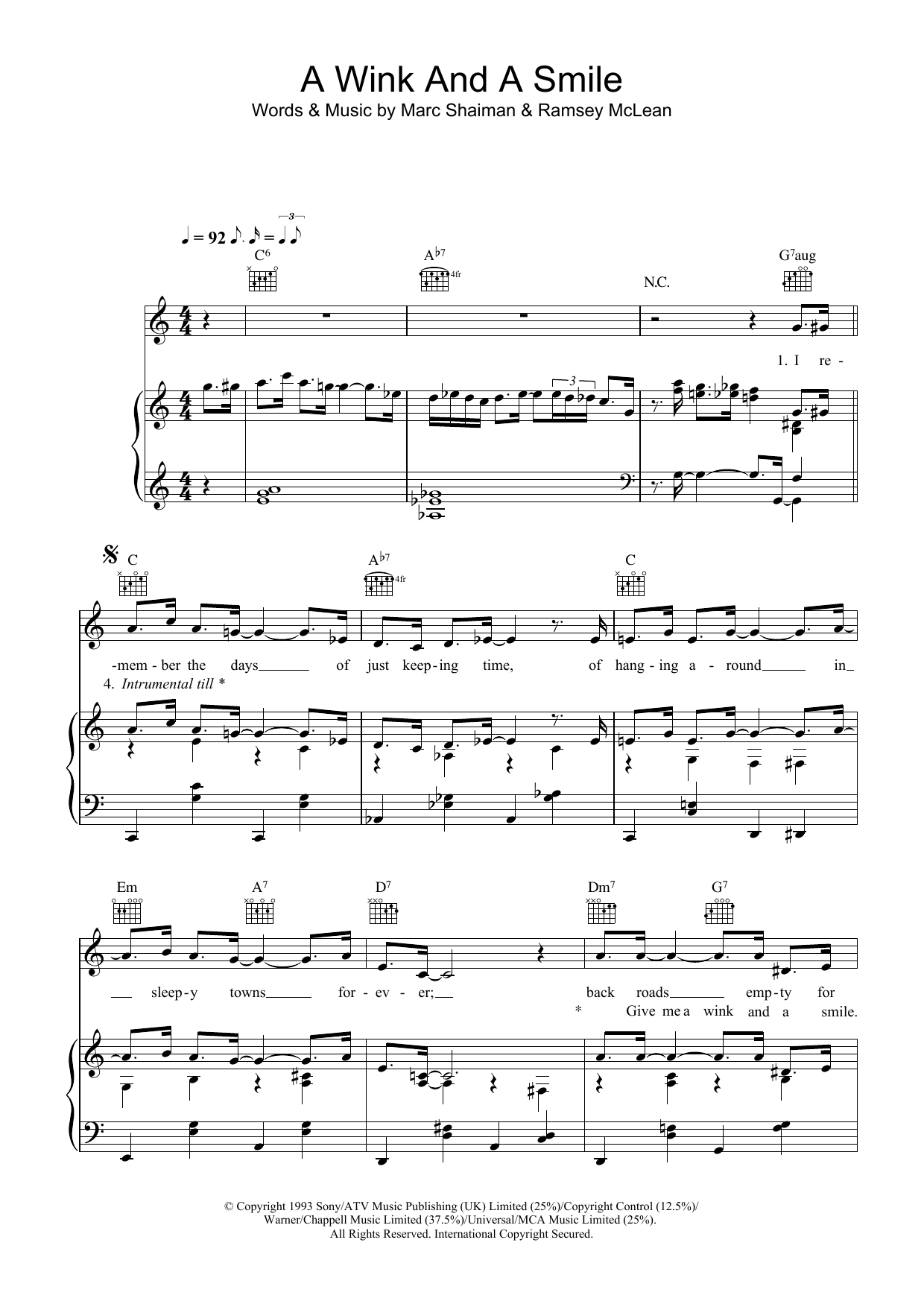 A Wink And A Smile (Piano, Vocal & Guitar)