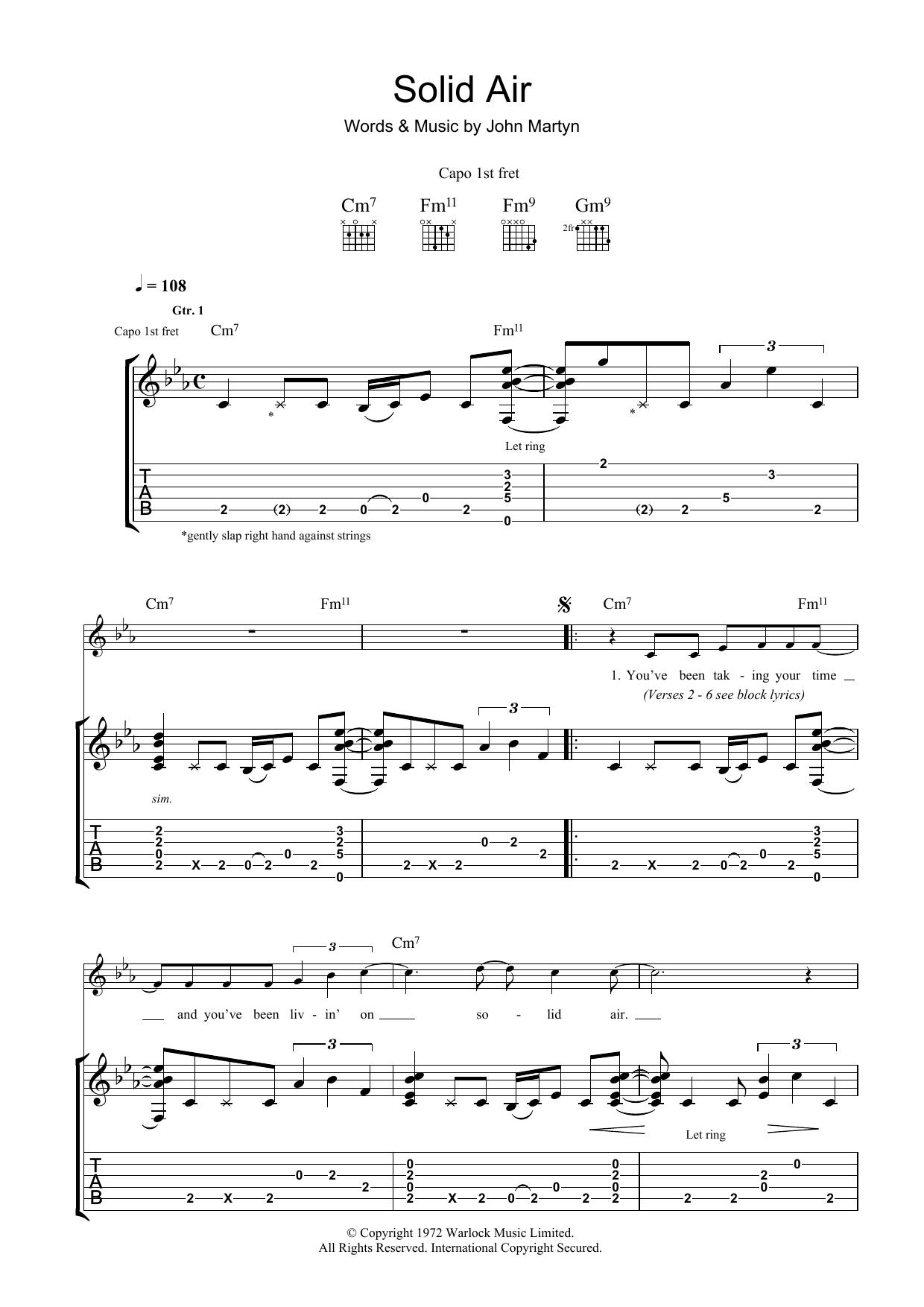 Solid Air Sheet Music