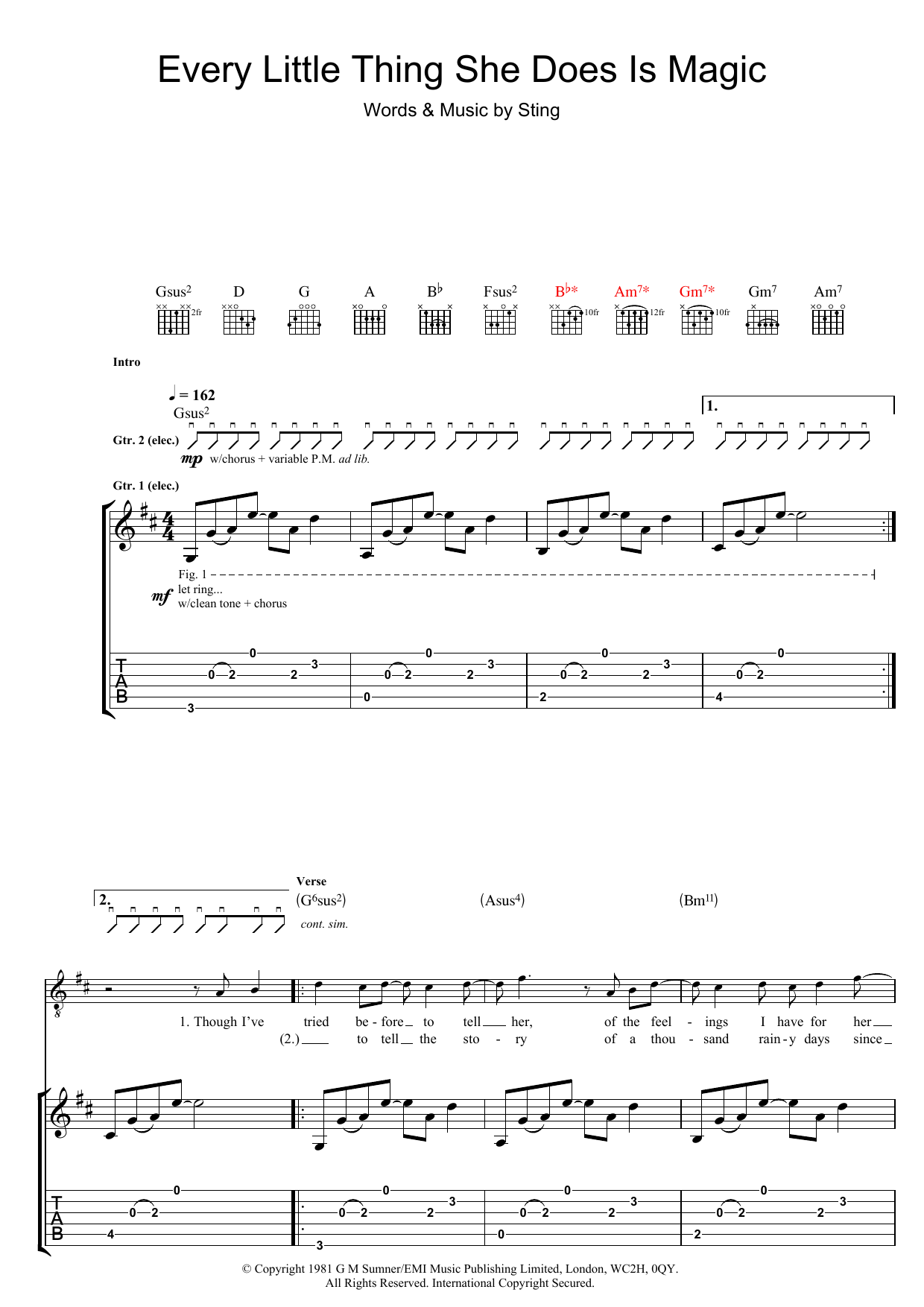 Every Little Thing She Does Is Magic (Guitar Tab)