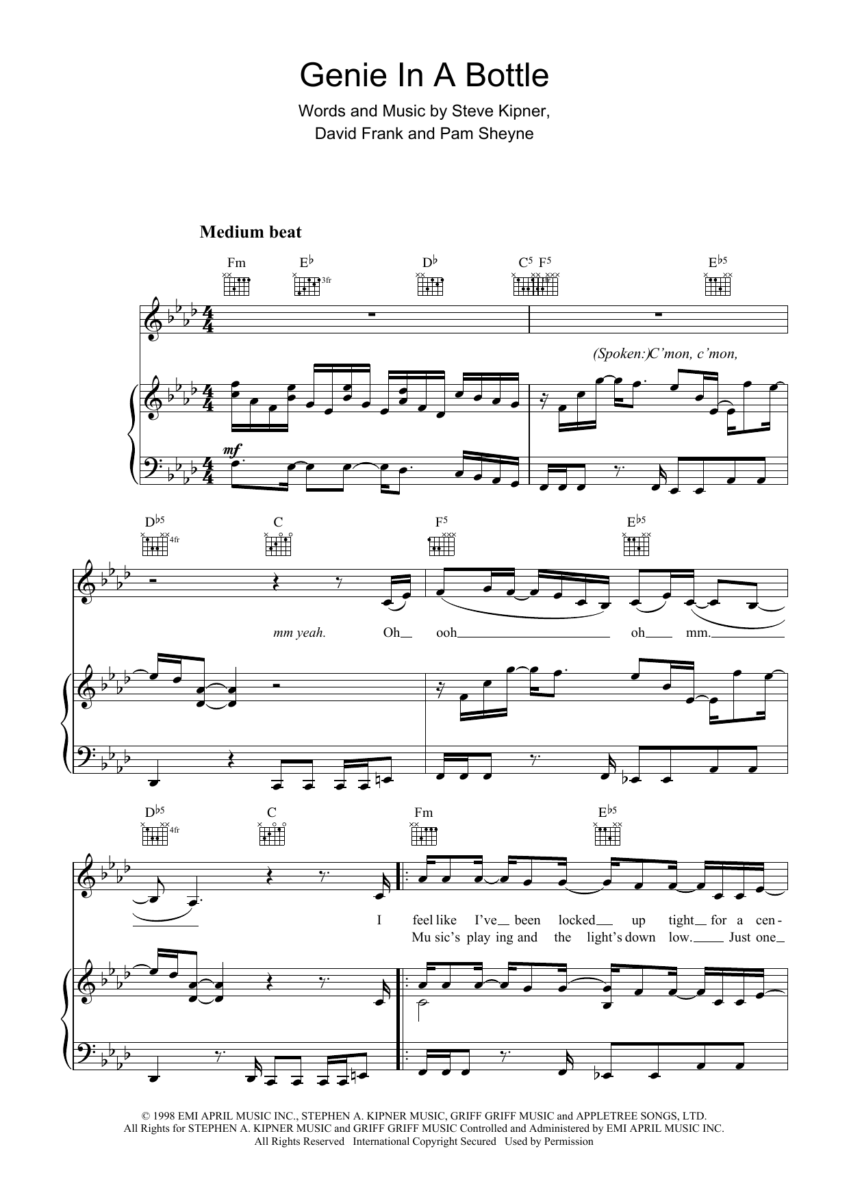 Genie In A Bottle Sheet Music