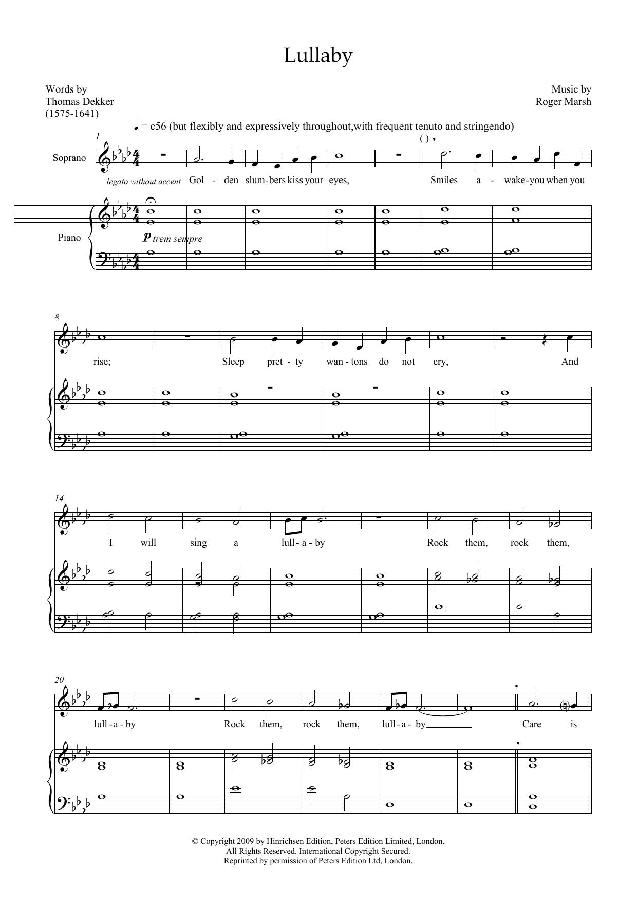 Lullaby (for soprano and marimba) (Piano & Vocal)