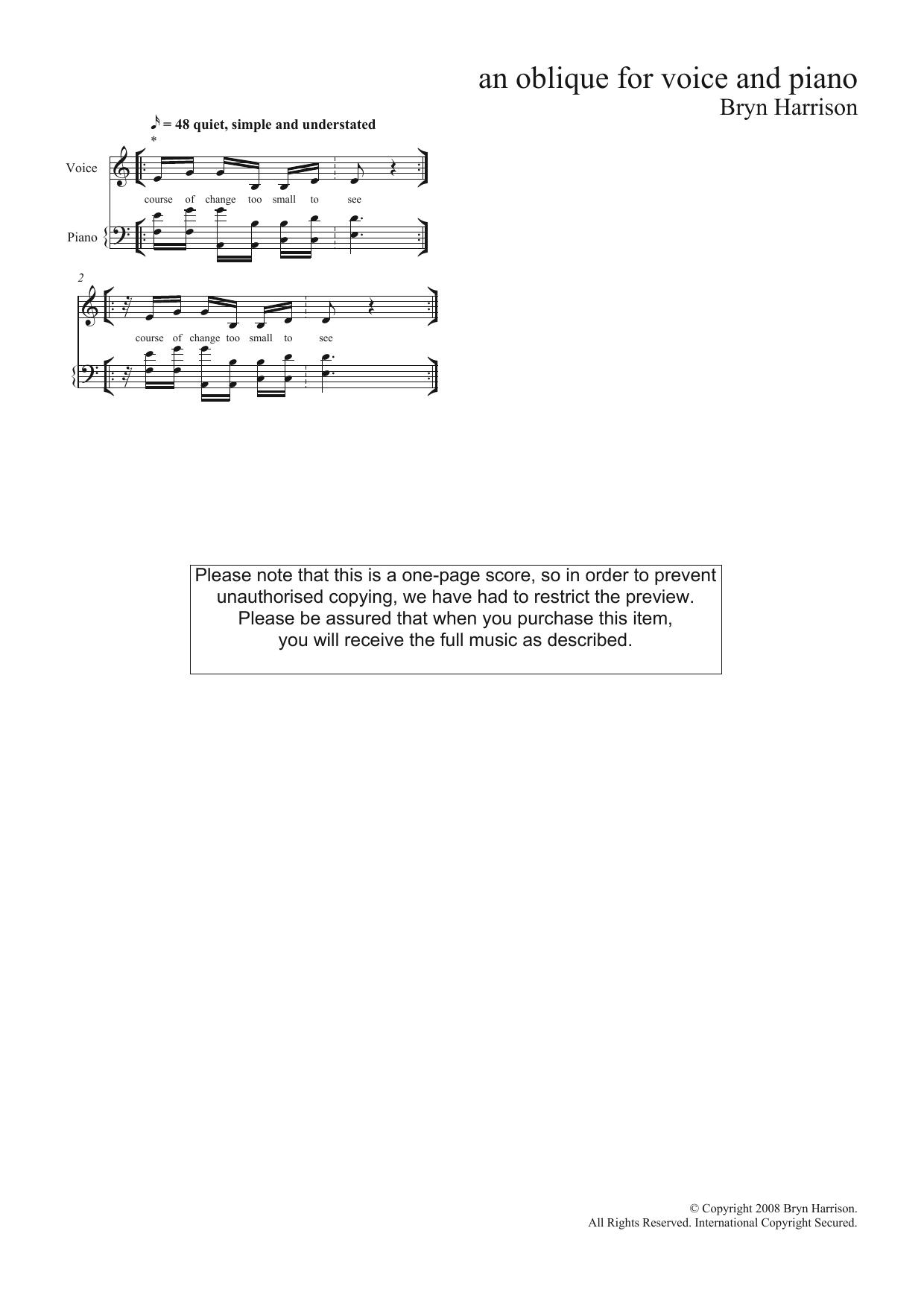 An Oblique (for mezzo-soprano and piano) (Piano & Vocal)
