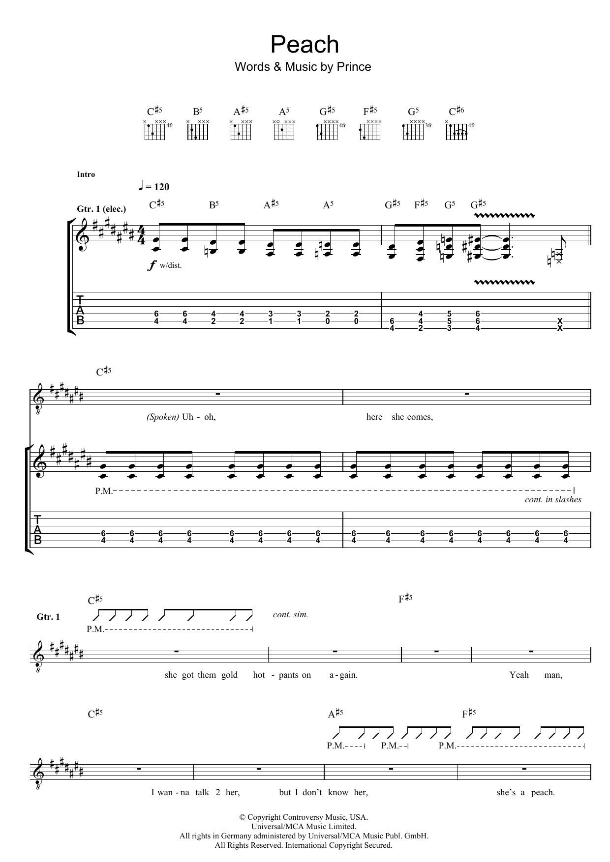 Peach By Prince Guitar Tab Guitar Instructor