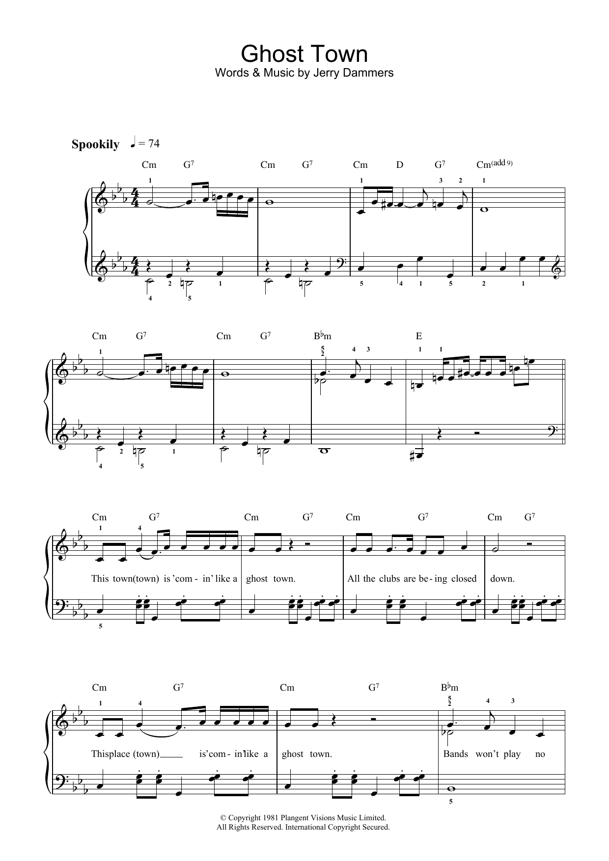 Ghost Town Sheet Music The Specials Beginner Piano