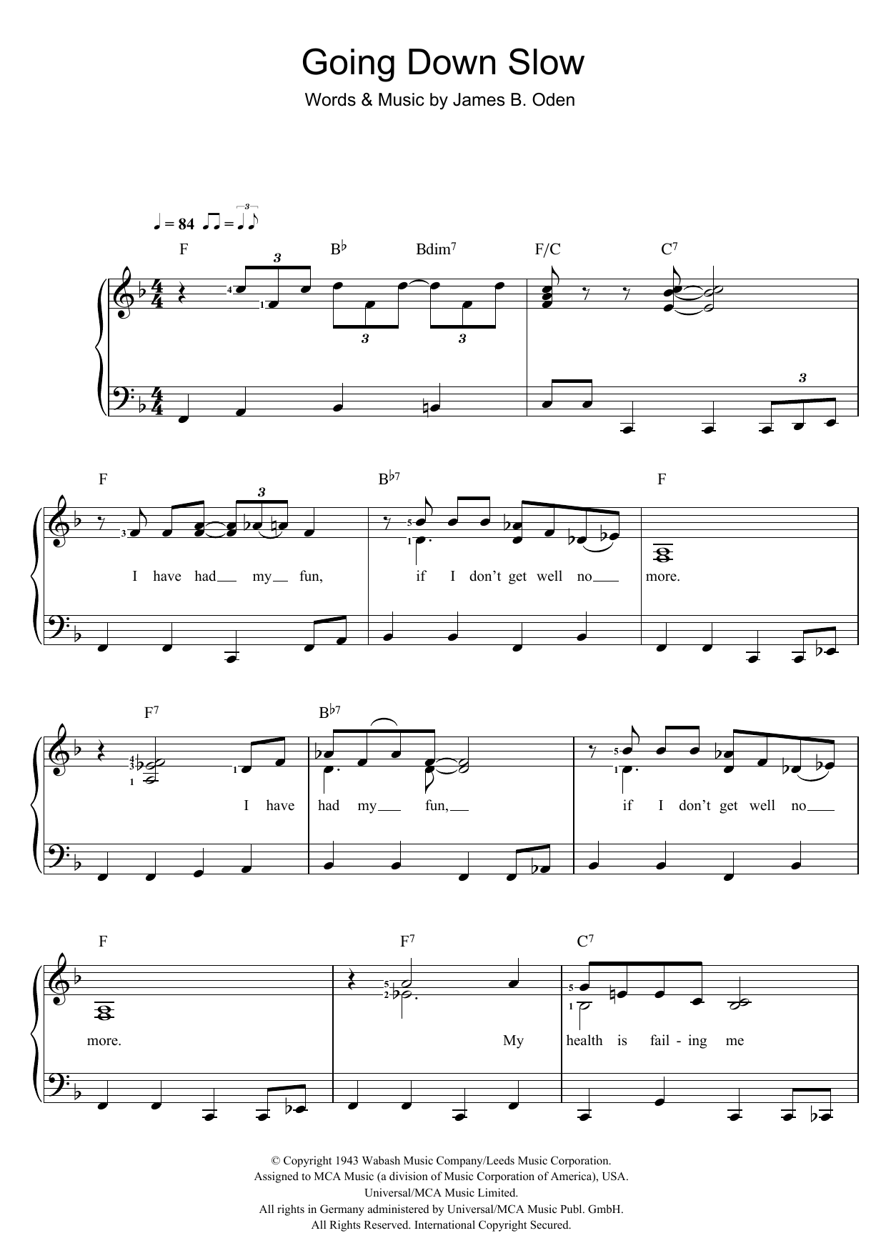 Going Down Slow (Piano & Vocal)