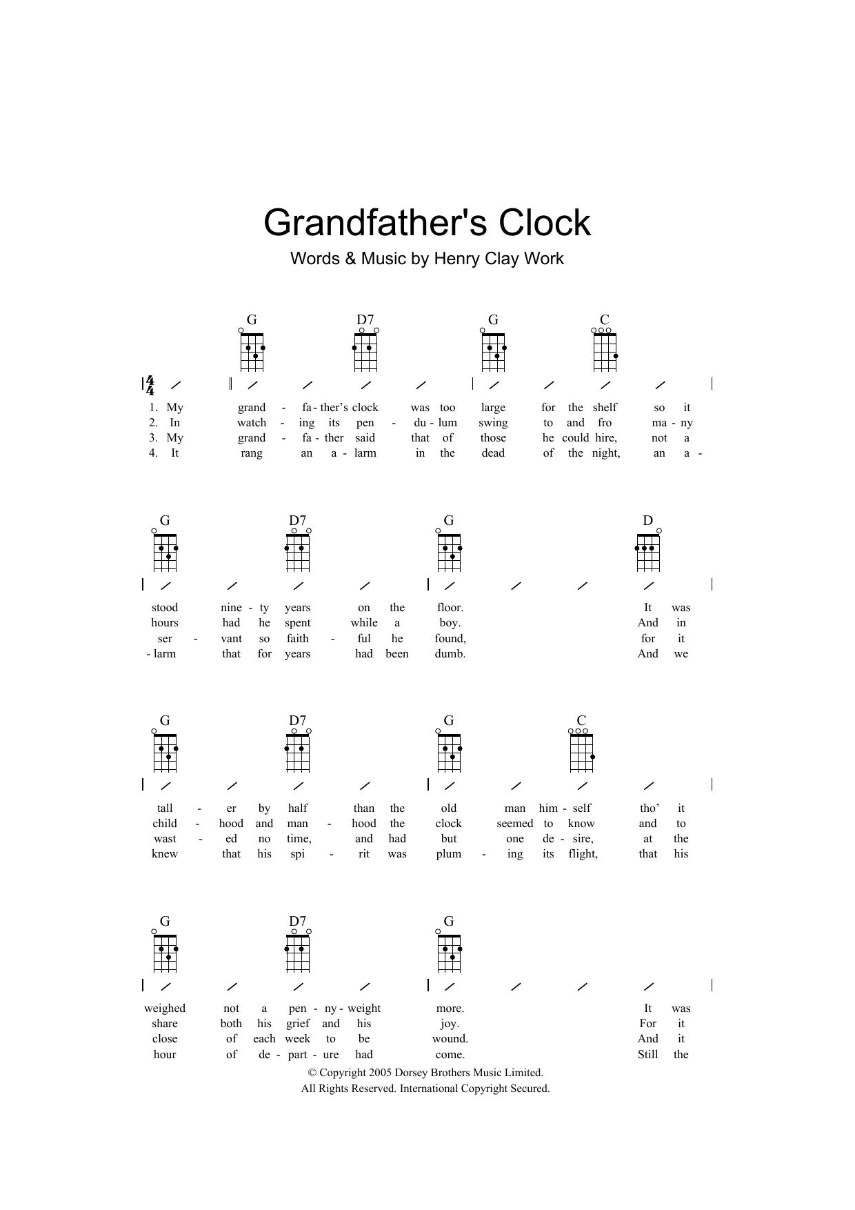 Grandfather's Clock (Ukulele Chords/Lyrics)
