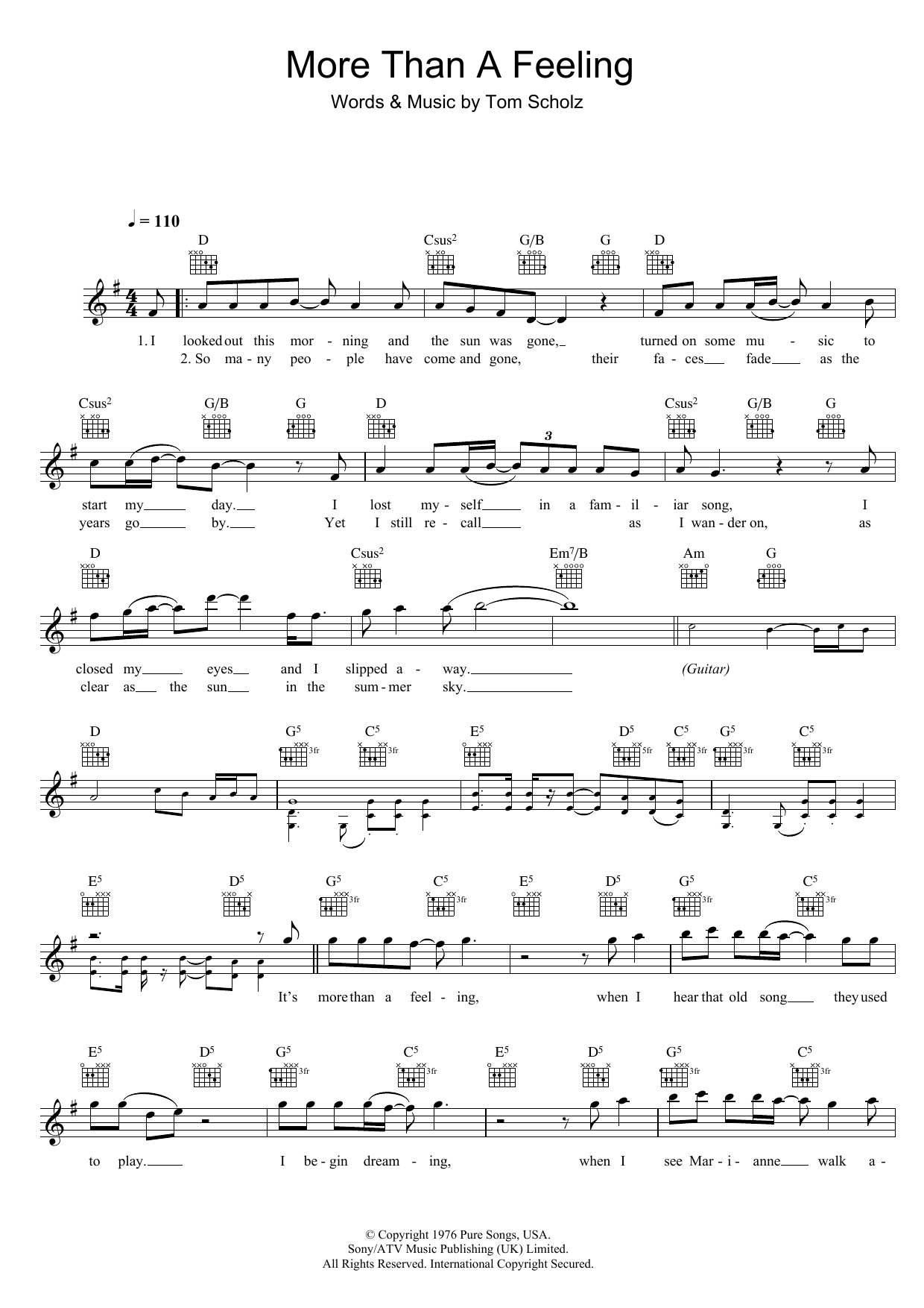 More Than A Feeling Sheet Music Boston Melody Line Lyrics Chords