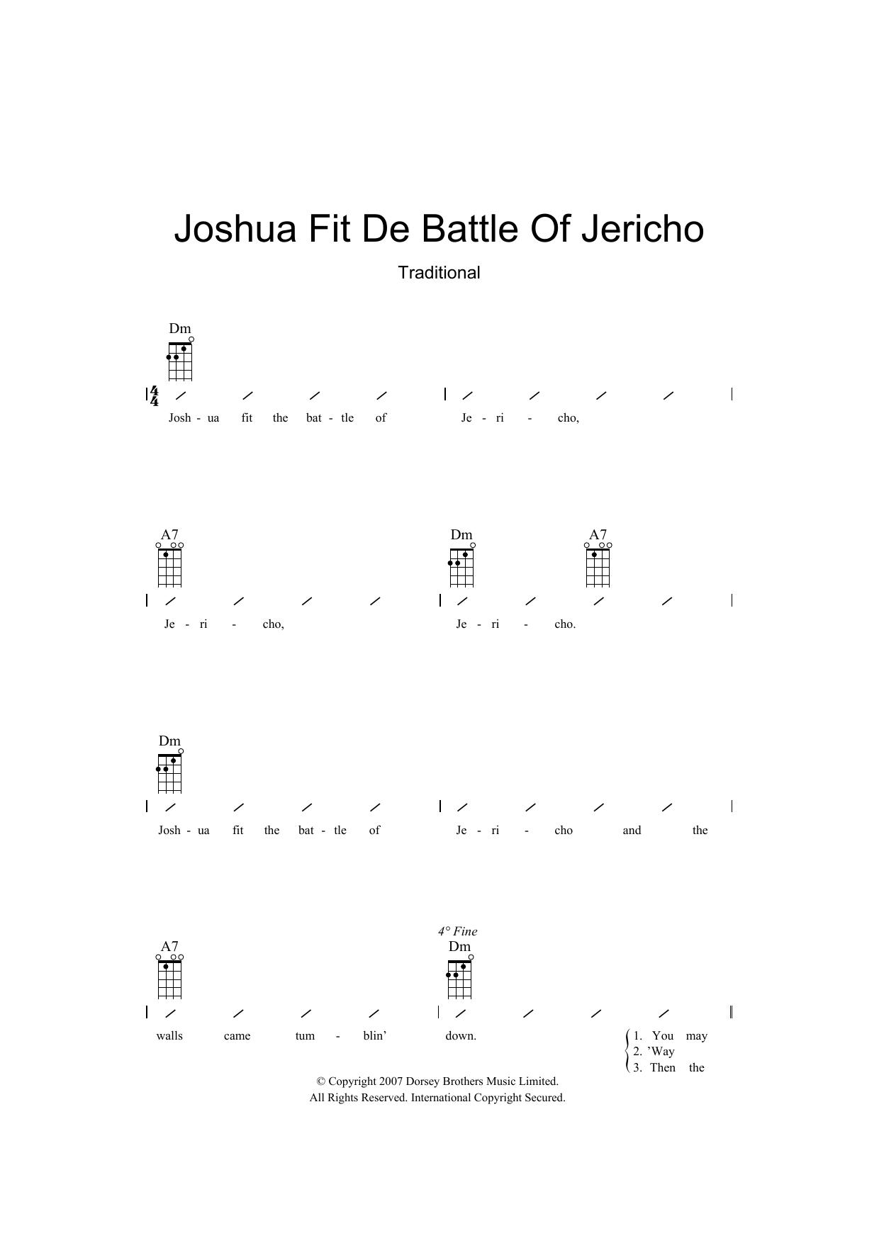 Joshua Fit De Battle Of Jericho (Ukulele Chords/Lyrics)