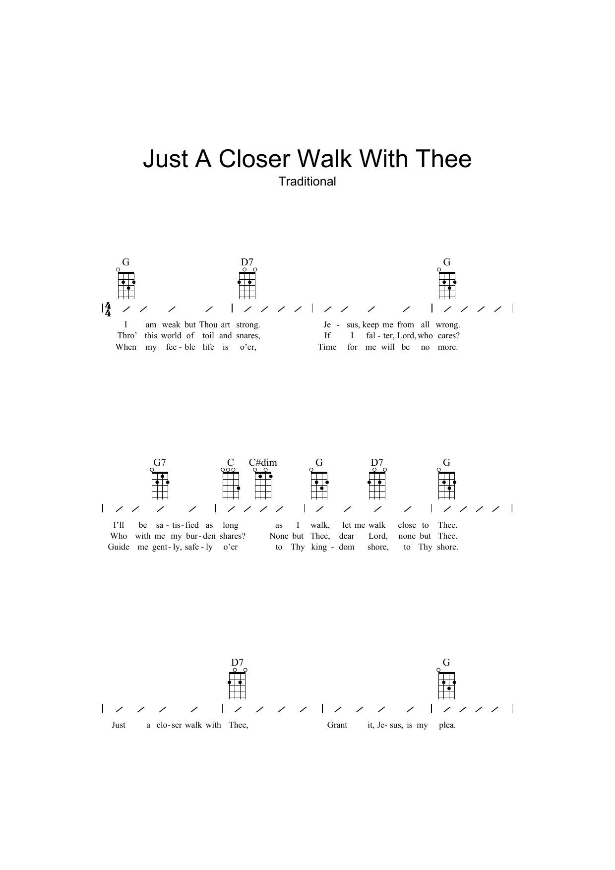 Just A Closer Walk With Thee Sheet Music