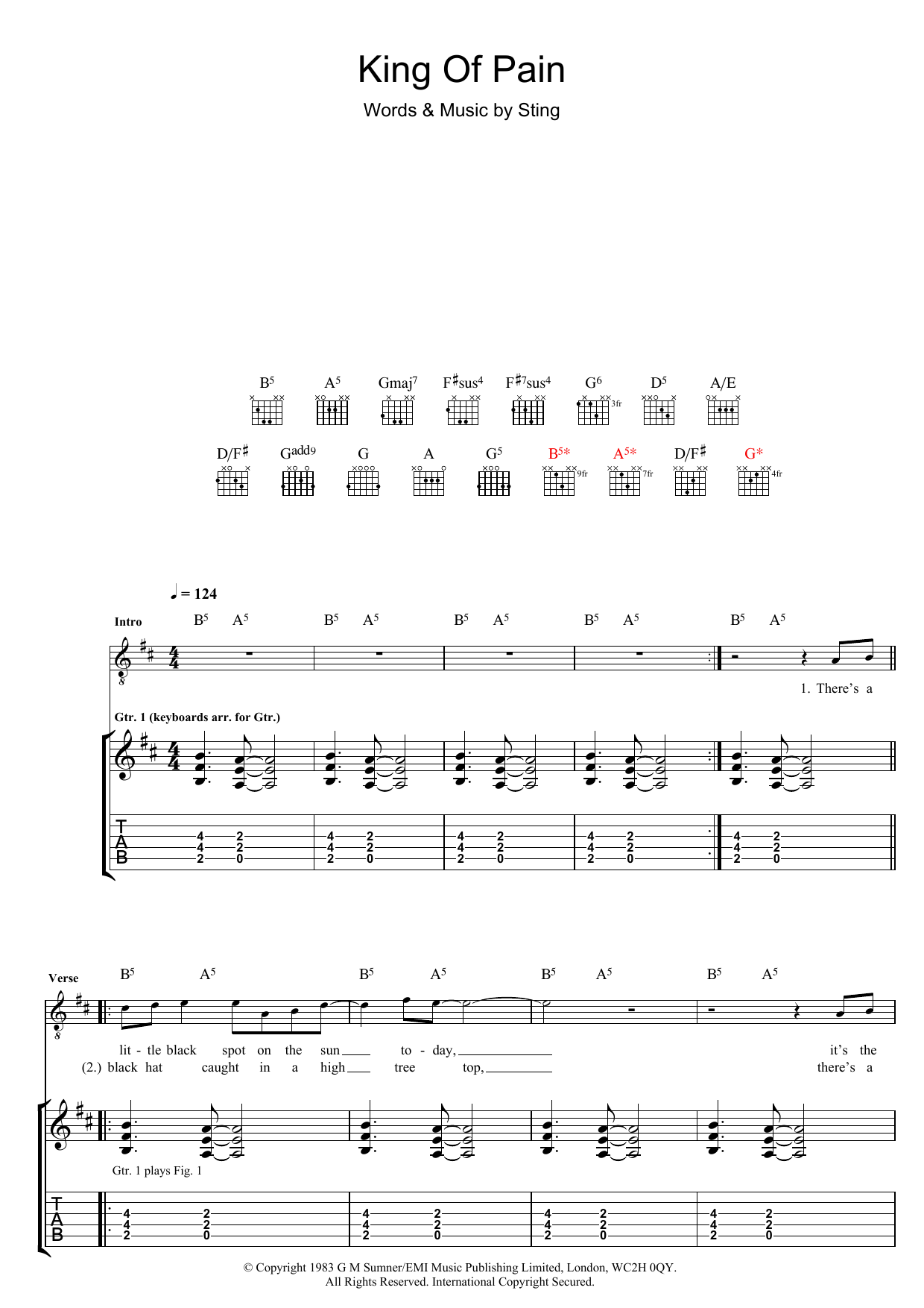King Of Pain (Guitar Tab)