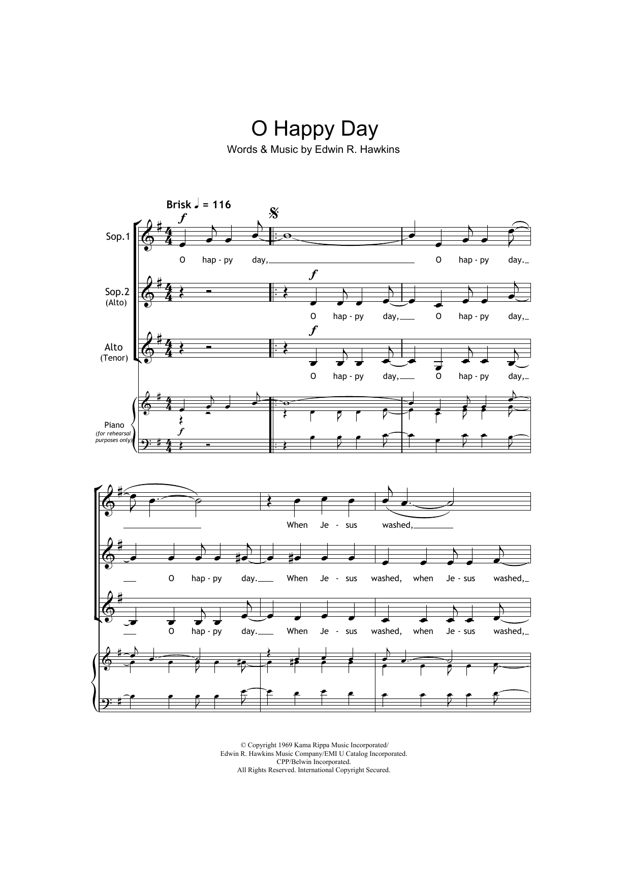 Oh Happy Day (arr. Barrie Carson Turner) Partition Digitale