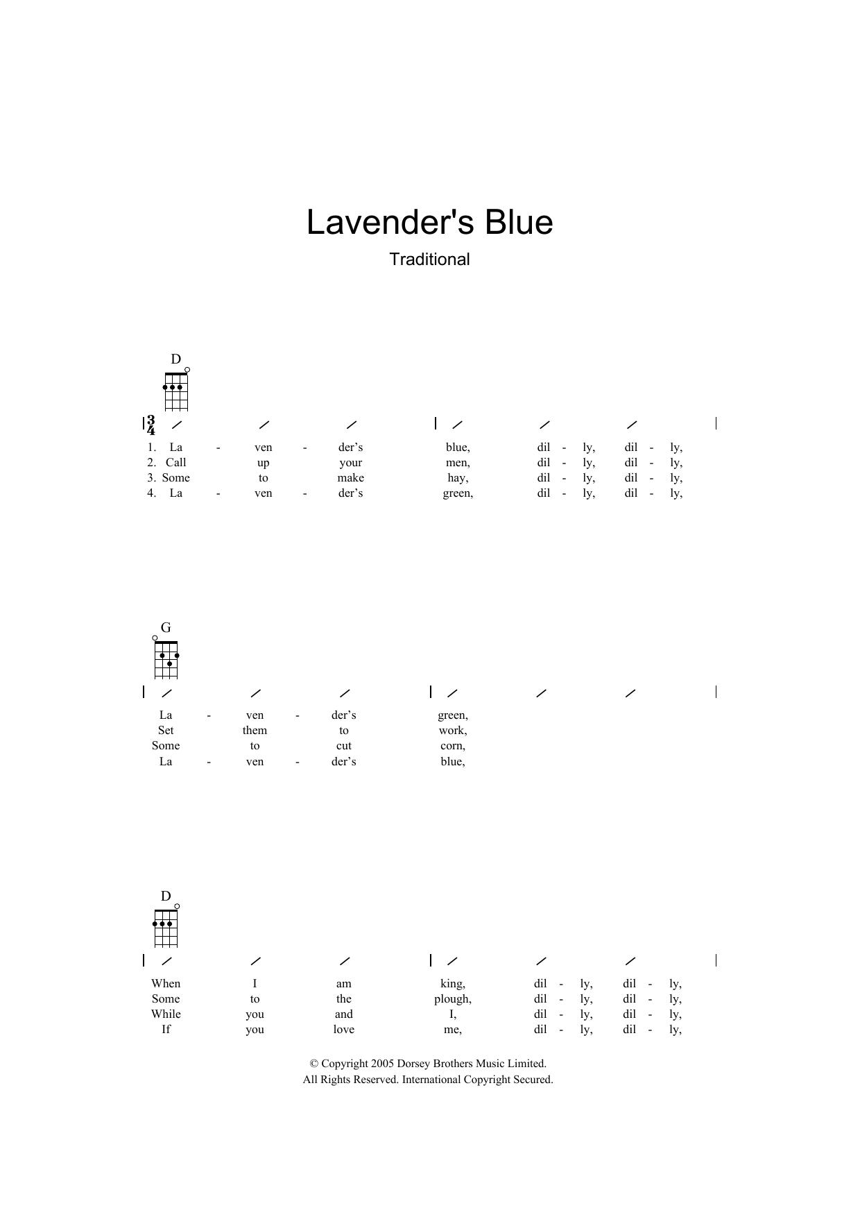 Lavender Blue (Ukulele Chords/Lyrics)