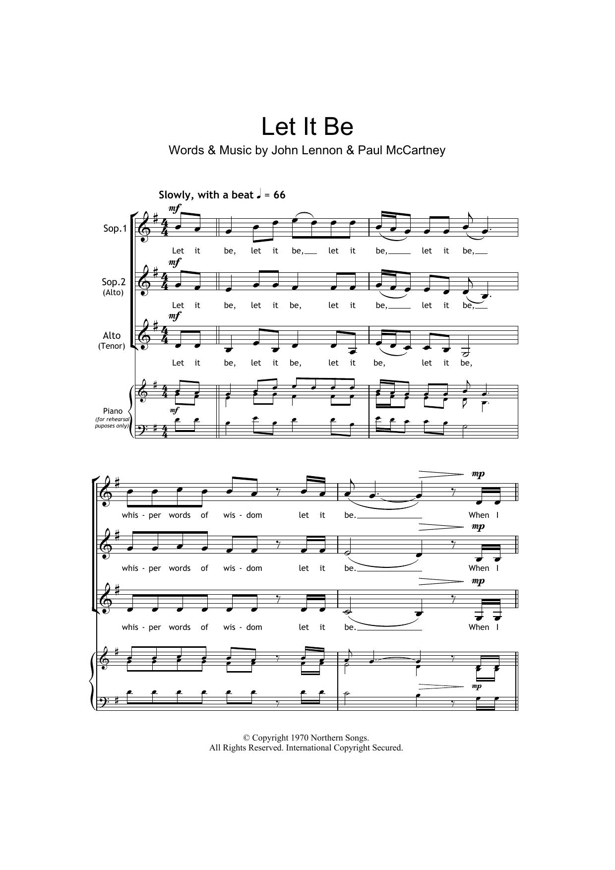 Let It Be (arr. Barrie Carson Turner) (SSA Choir)