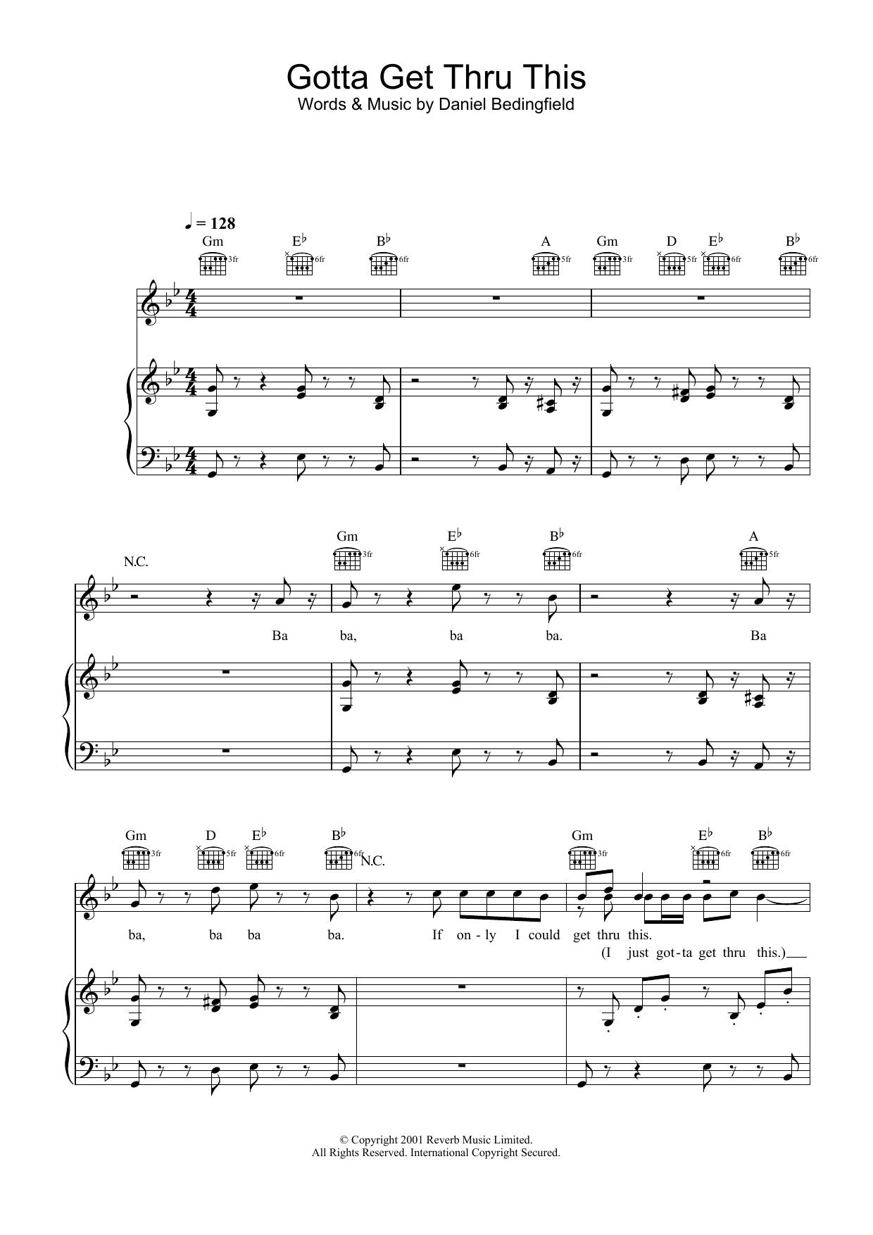 Gotta Get Thru This (Piano, Vocal & Guitar)