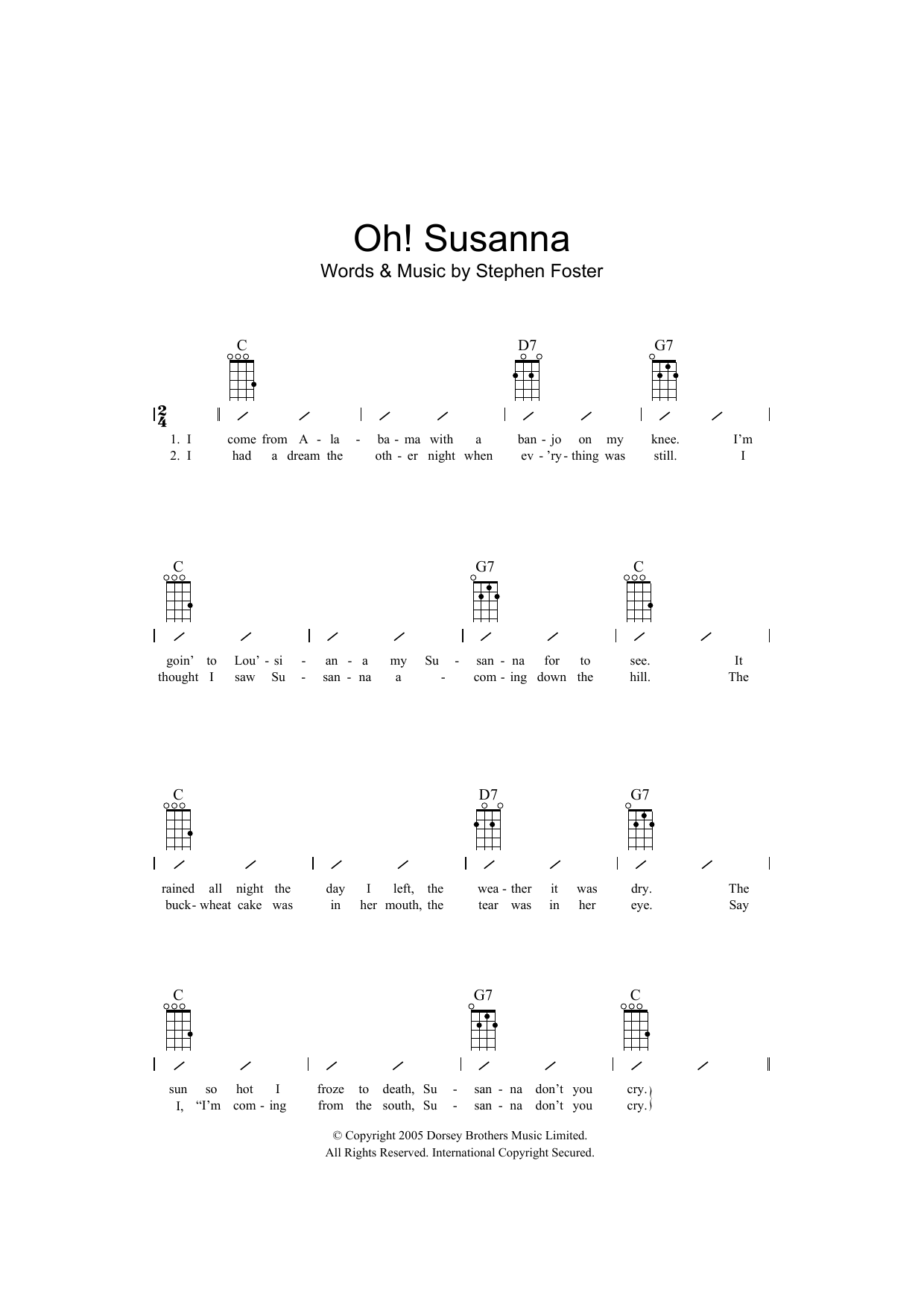 Oh! Susanna Sheet Music