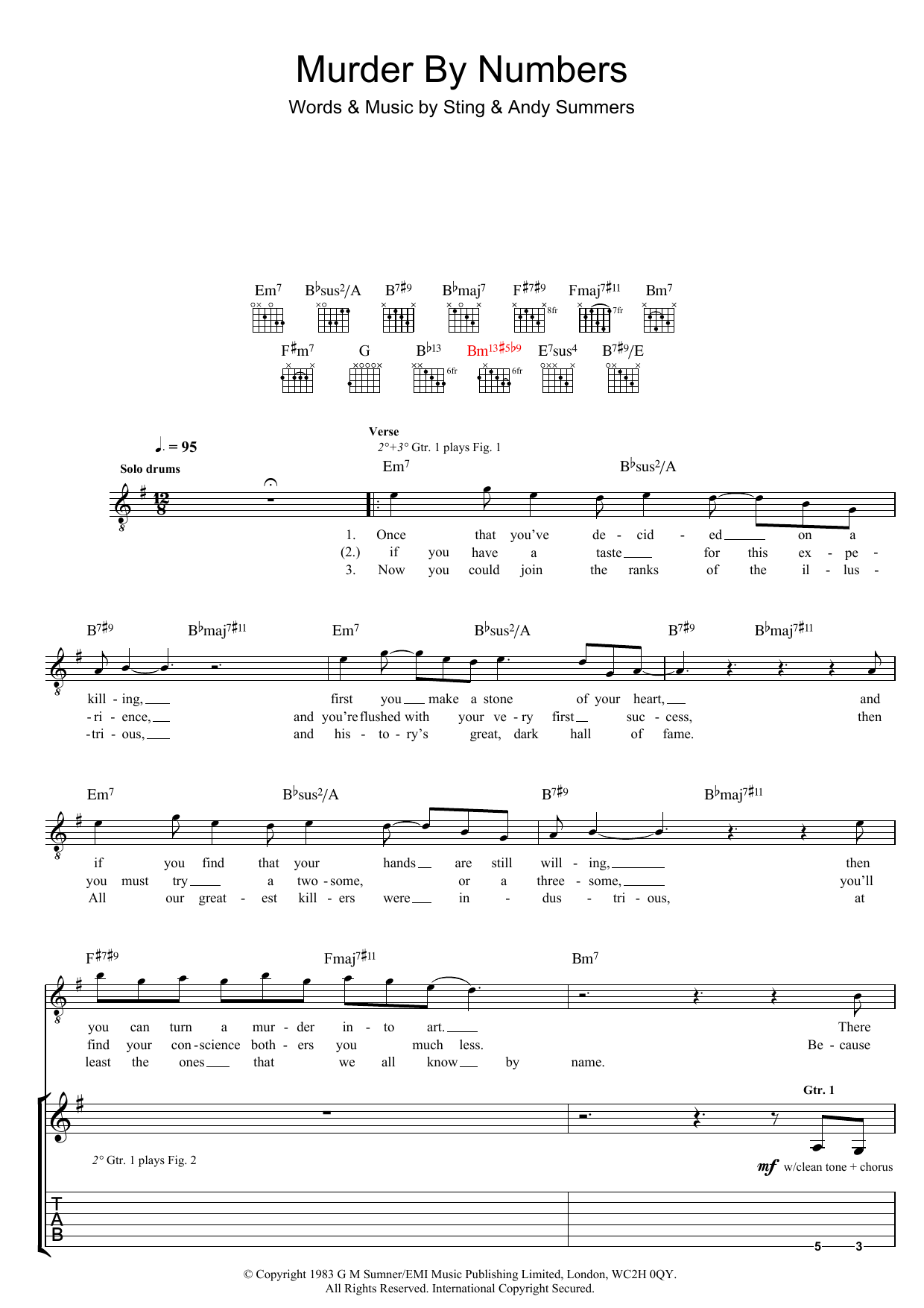 Murder By Numbers The Police Guitar Tab