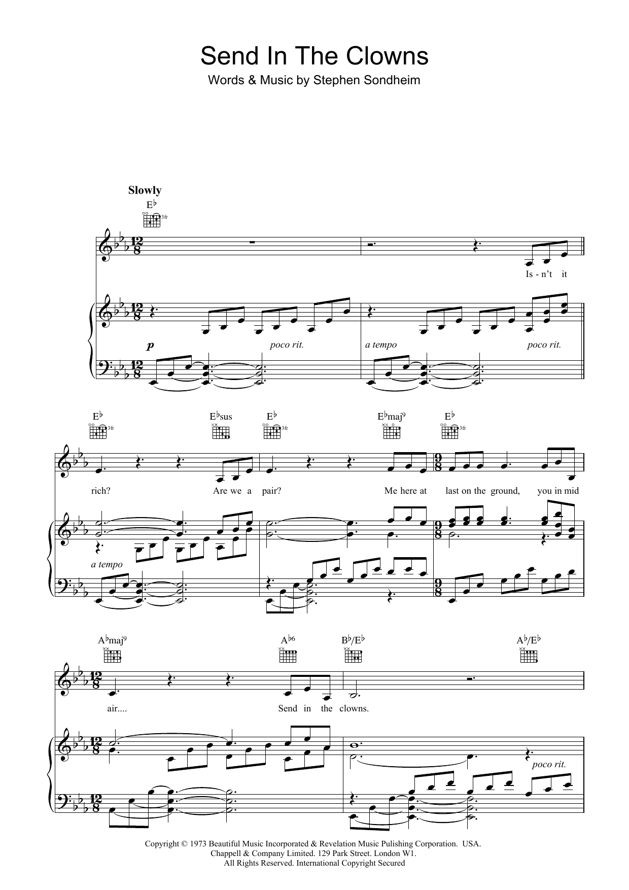 send in the clowns piano sheet music pdf