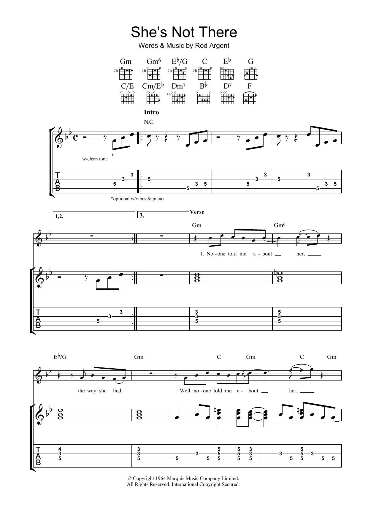 She's Not There (Guitar Tab)