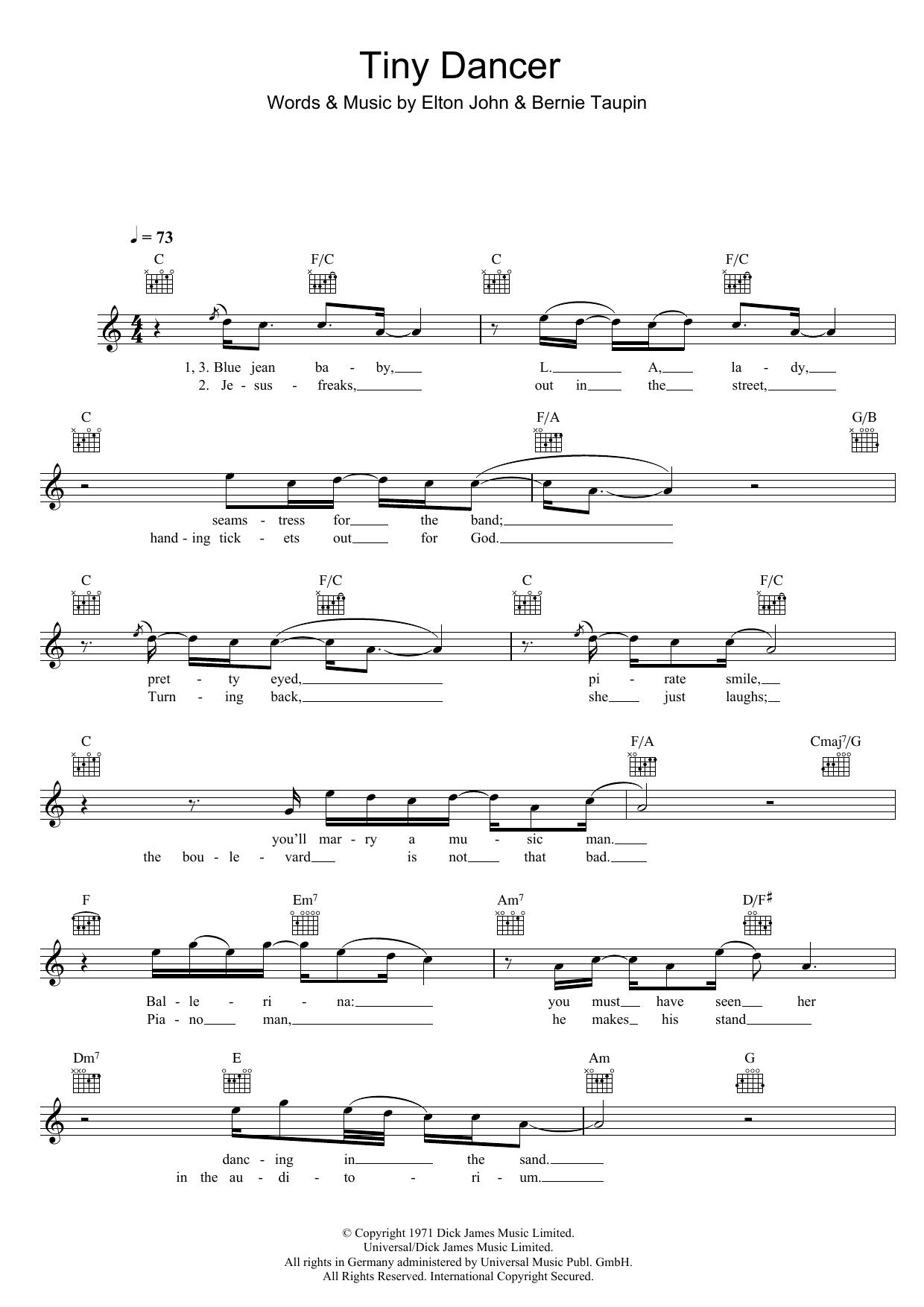 Tiny Dancer Sheet Music