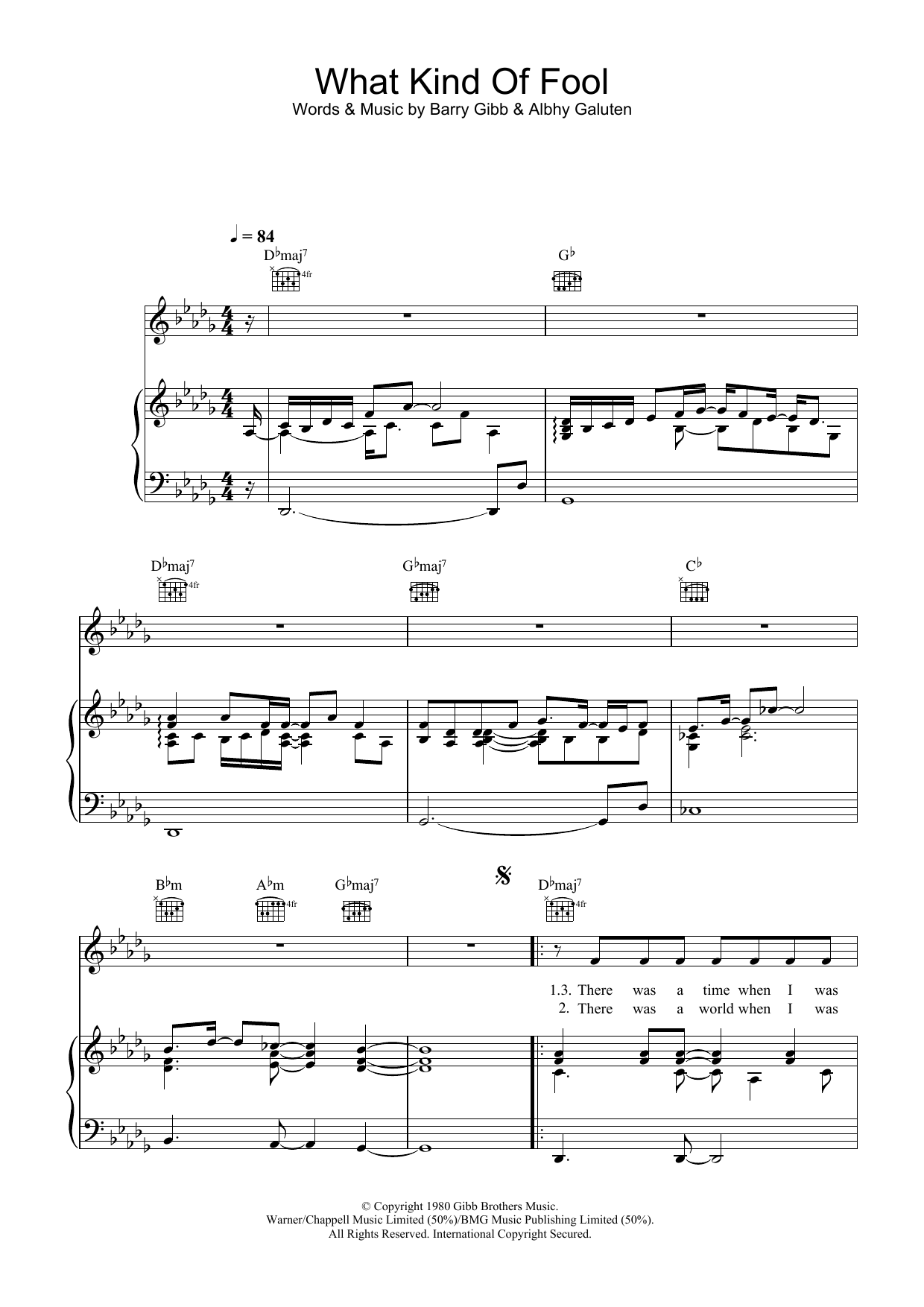 What Kind Of Fool (Piano & Vocal)
