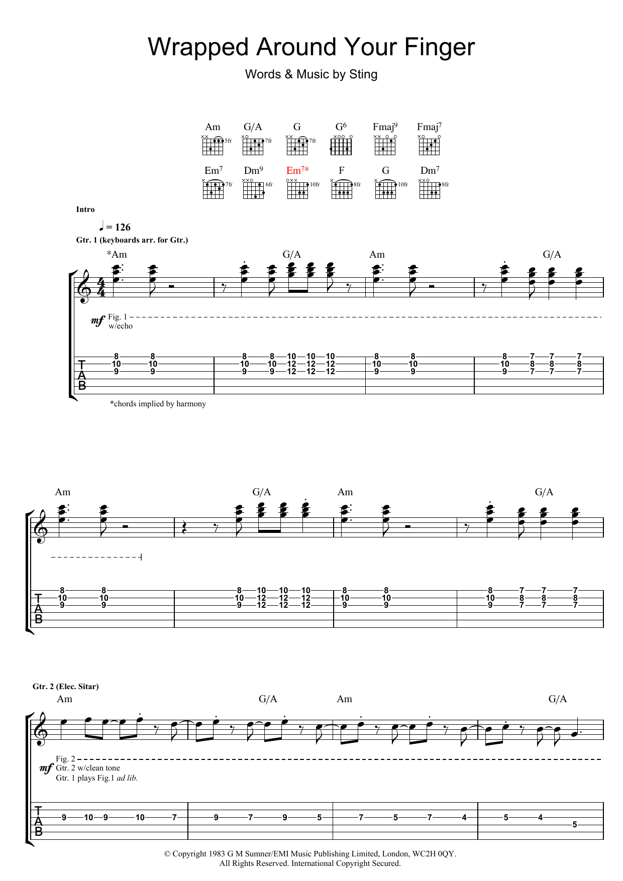Wrapped Around Your Finger (Guitar Tab)