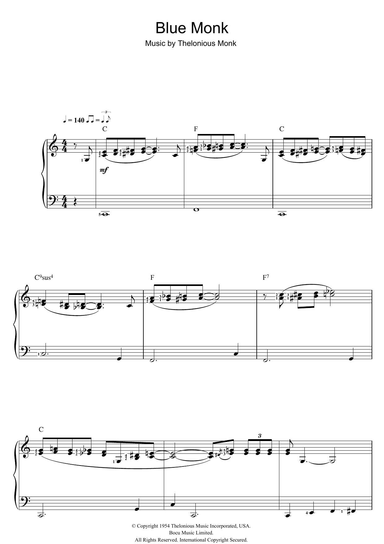 Blue Monk (Piano Solo)