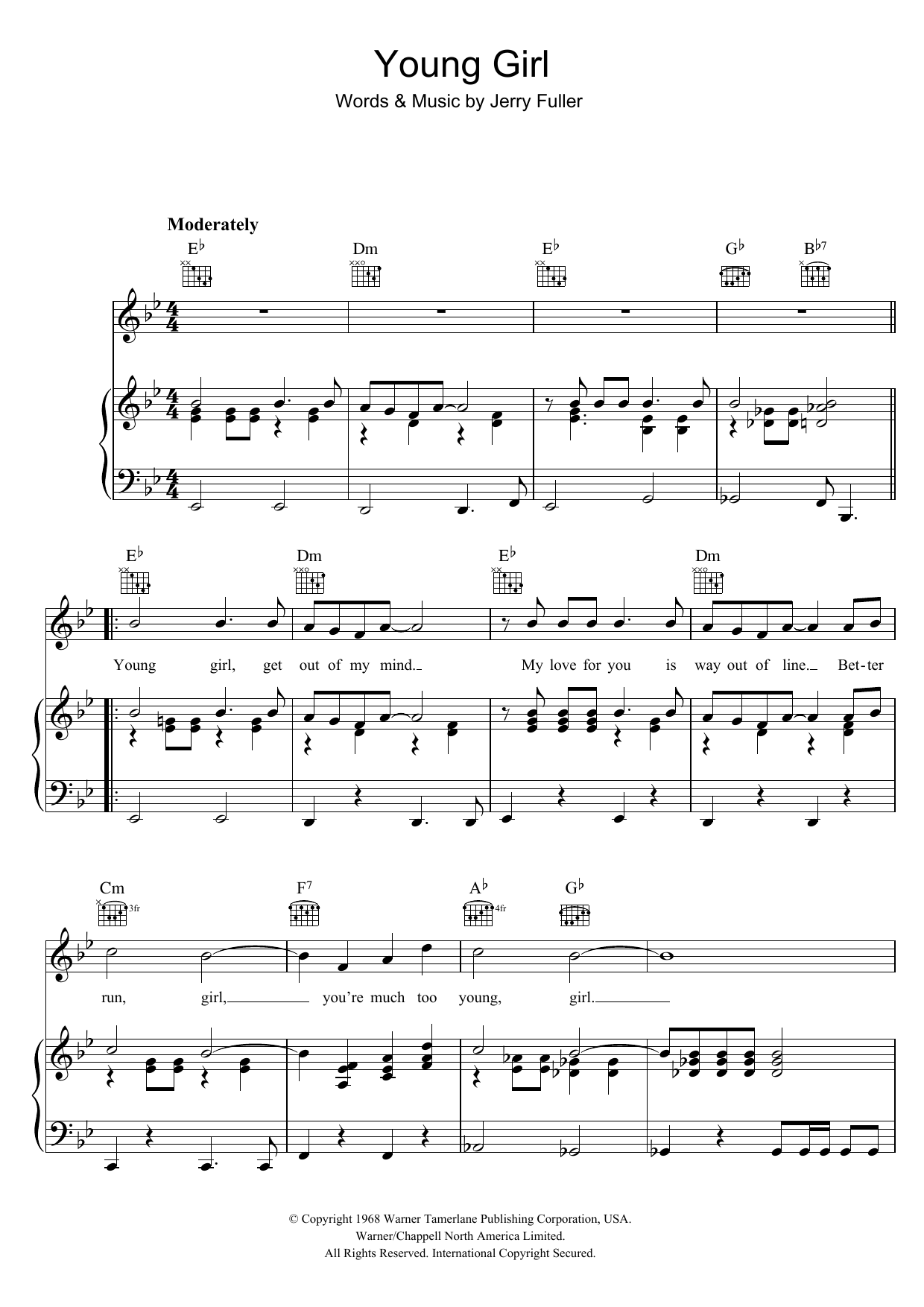 Young Girl (Piano, Vocal & Guitar)