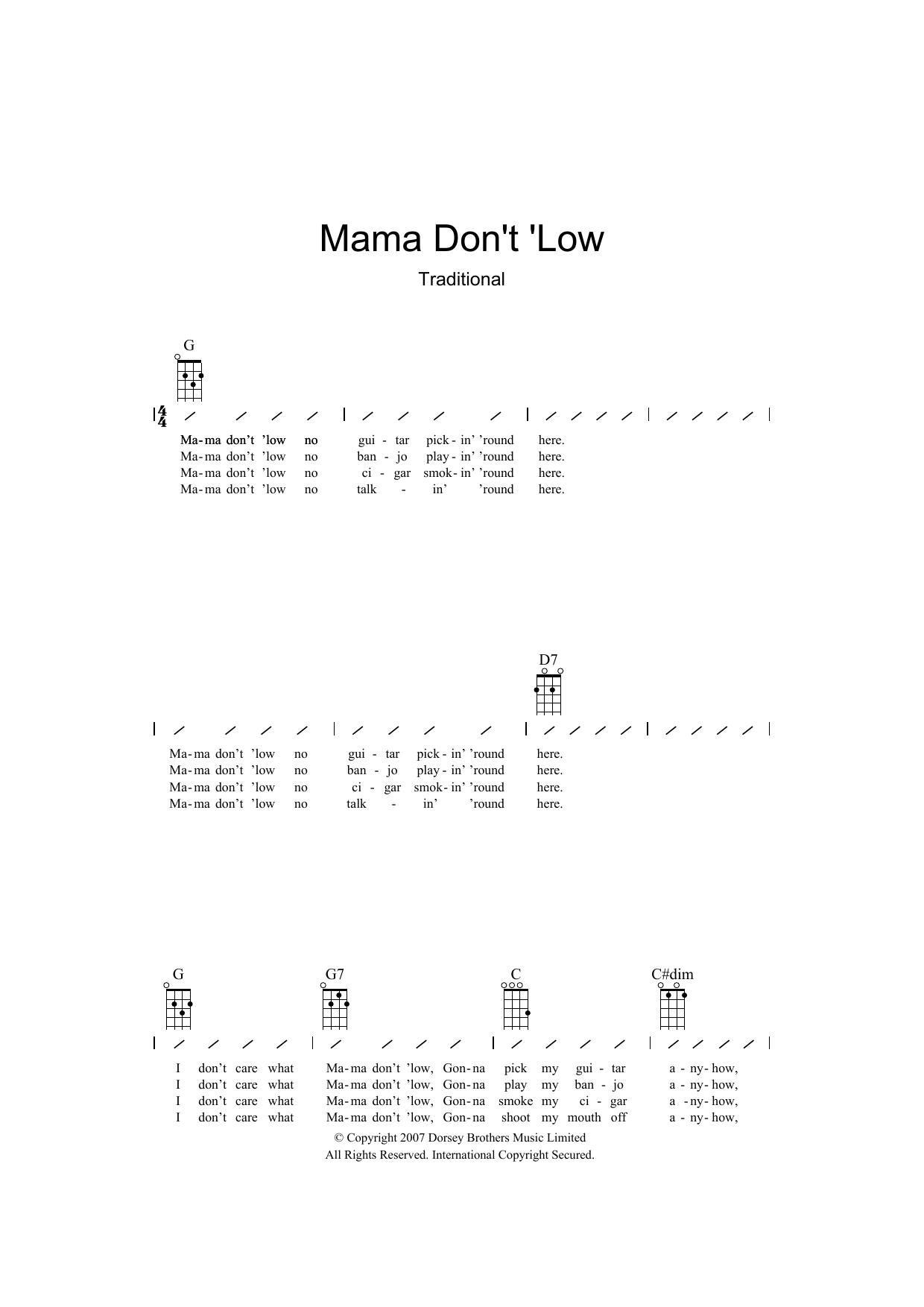 Mama Don't 'low (Ukulele Chords/Lyrics)
