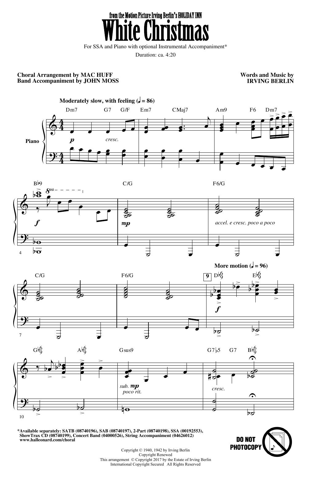 White Christmas (arr. Mac Huff) Sheet Music | Irving Berlin | SSA Choir