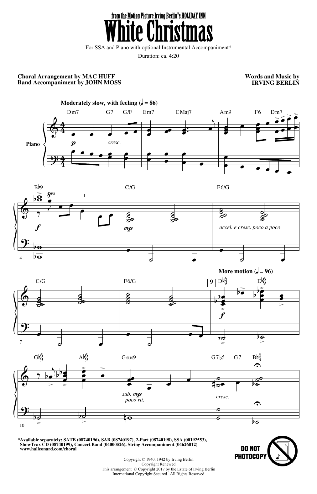 white christmas arr mac huff sheet music irving berlin ssa choir white christmas arr mac huff sheet music irving berlin ssa choir