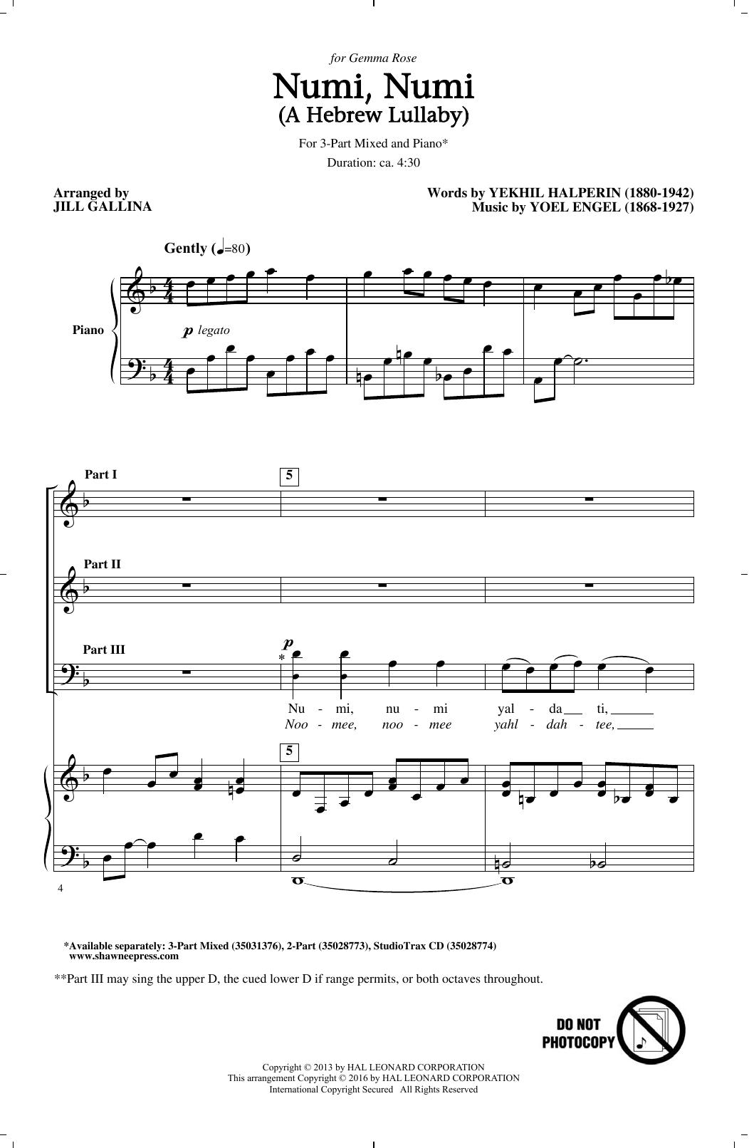 Partition chorale Numi, Numi de Jill Gallina - SAB