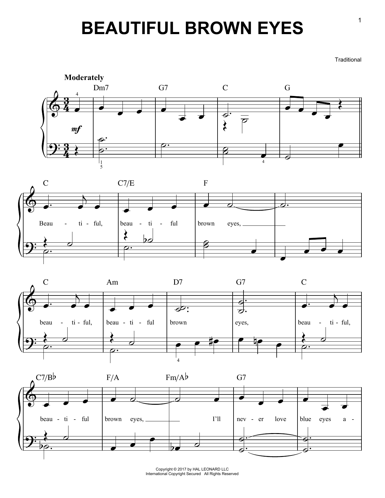 Beautiful Brown Eyes (Very Easy Piano)
