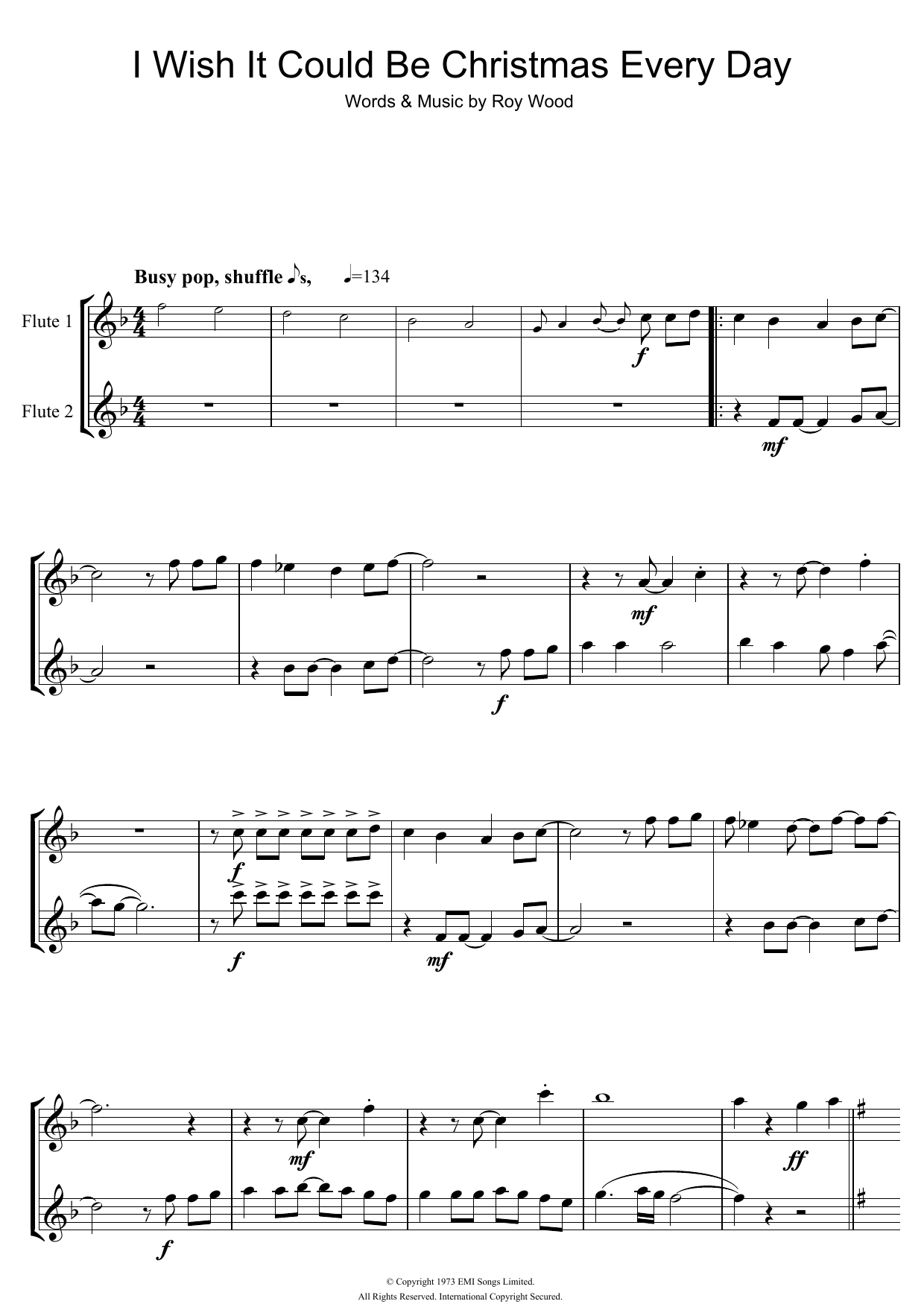 I Wish It Could Be Christmas Every Day Sheet Music | Wizzard | Flute ...