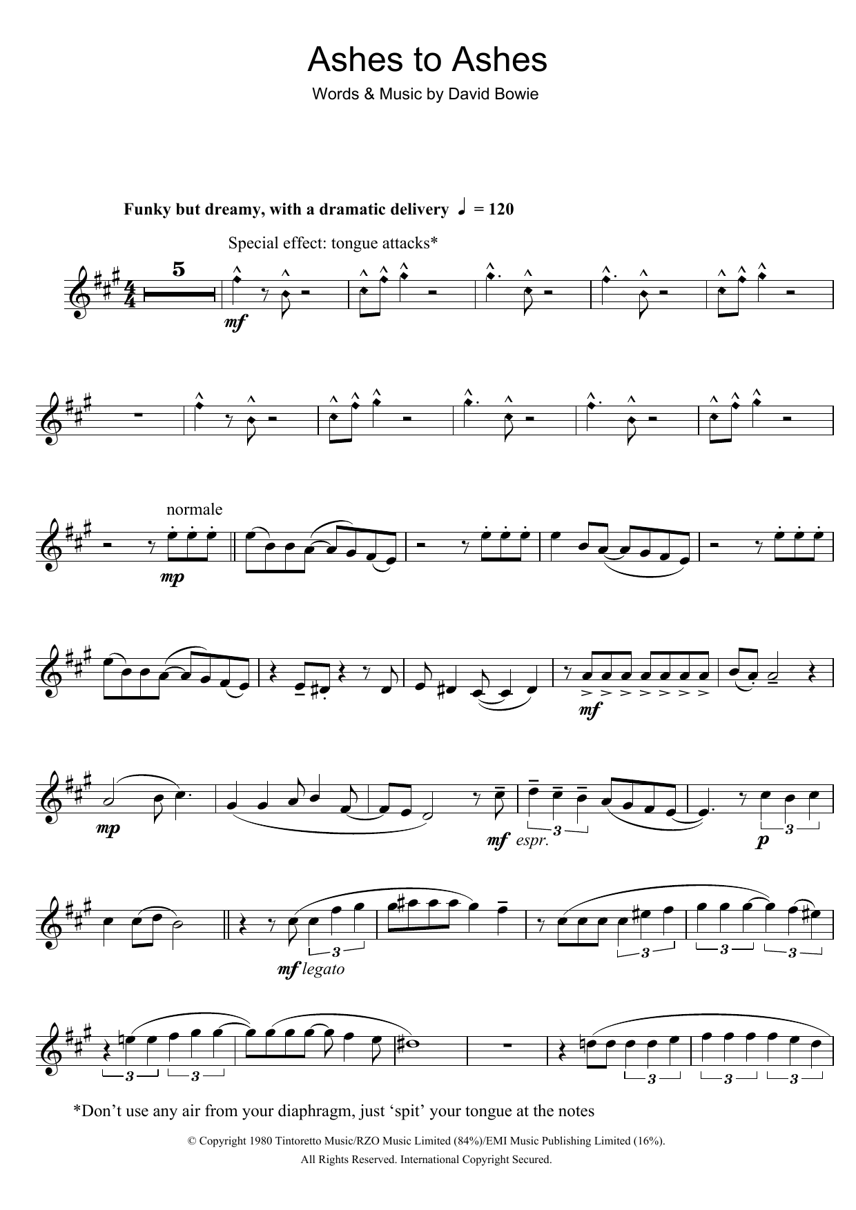David Bowie - Ashes To Ashes at Stanton's Sheet Music