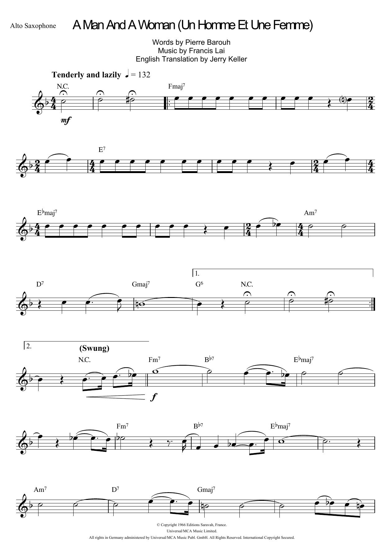 A Man And A Woman (Un Homme Et Une Femme) Sheet Music