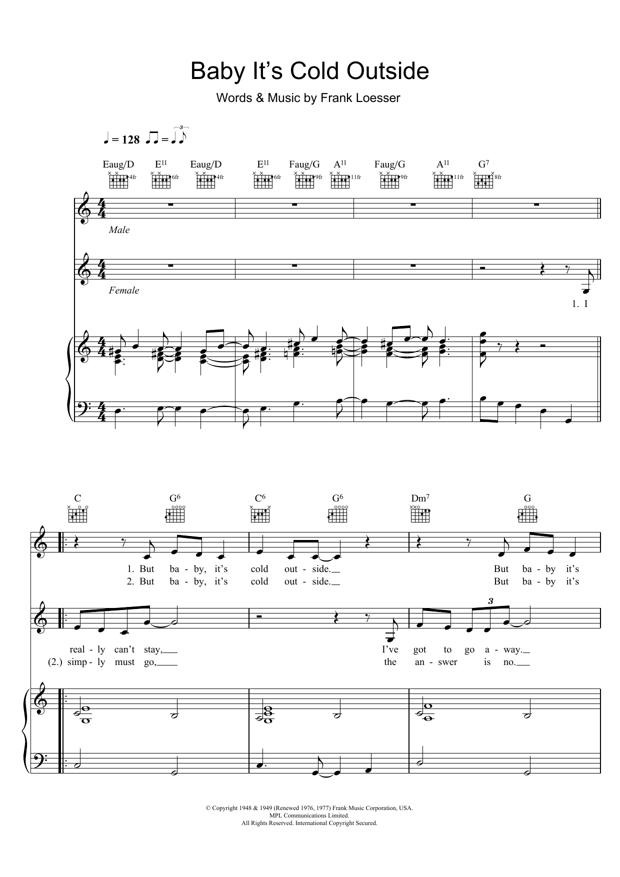 Baby, It's Cold Outside by Tom Jones & Cerys Matthews Alto Saxophone Solo  Digital Sheet Music