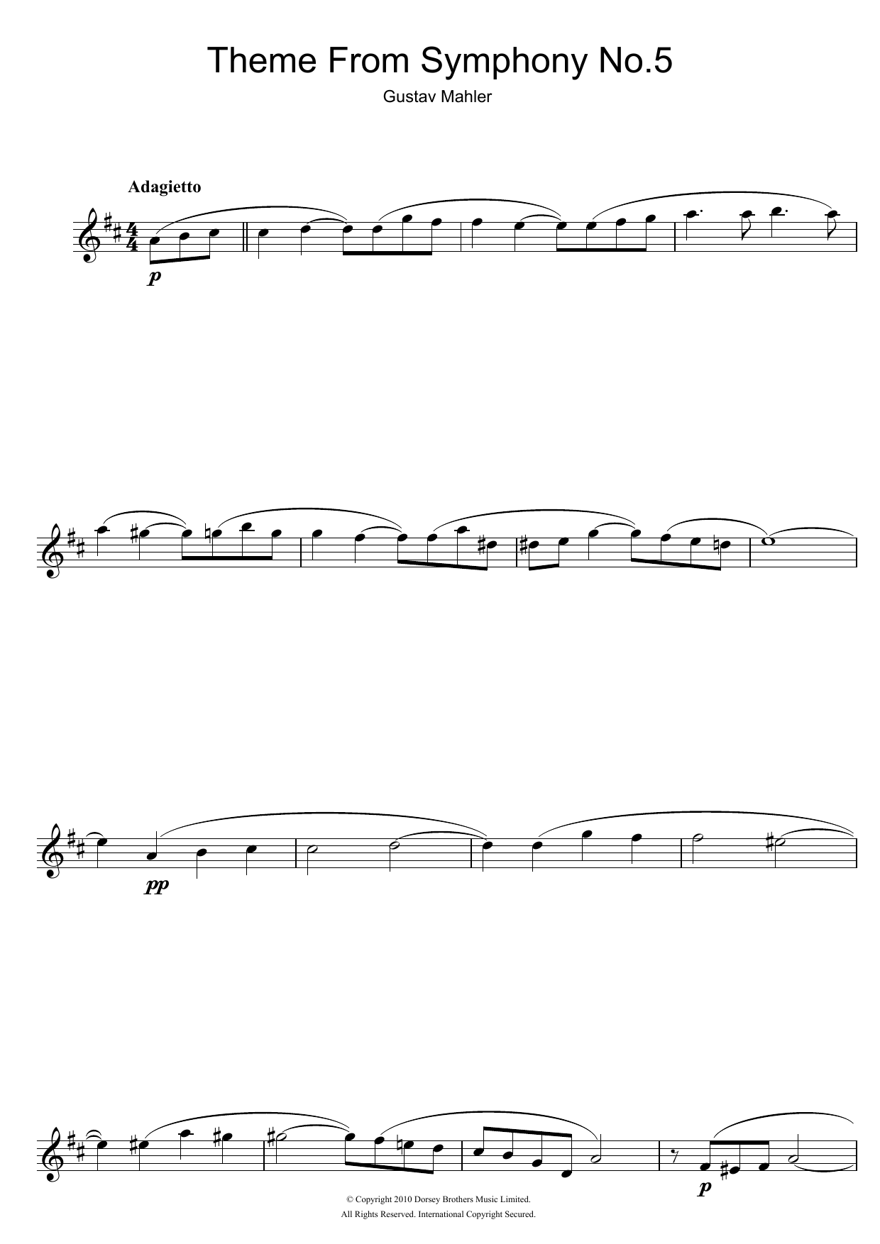 Adagietto (from Symphony No. 5, 4th Movement) Sheet Music